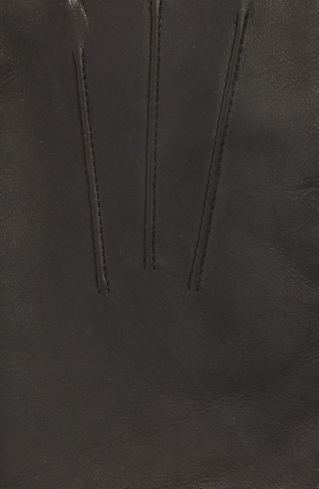 Leather Tech Gloves,                             Alternate thumbnail 3, color,                             Black