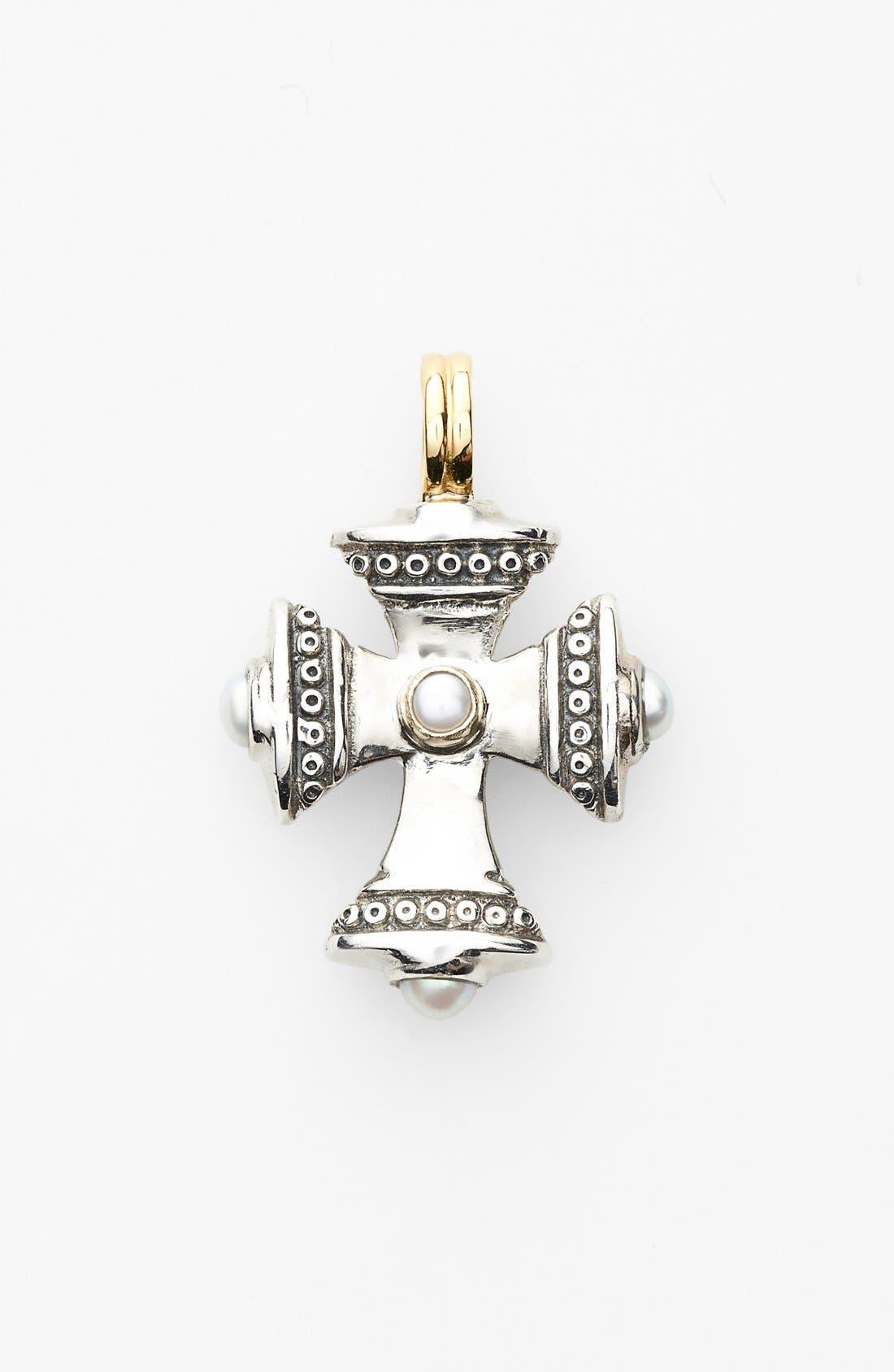 'Kassandra' Small Maltese Cross Pendant,                         Main,                         color, Silver/ Gold