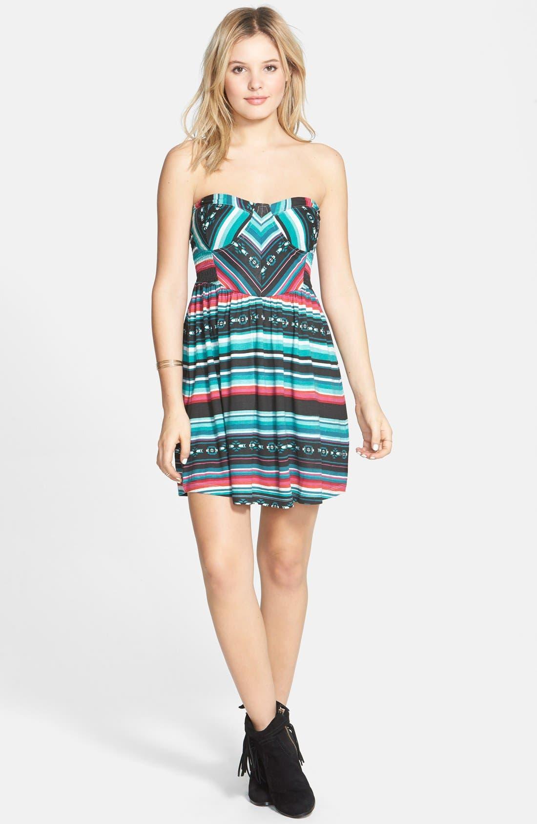 Alternate Image 1 Selected - Billabong 'Spread the News' Print Strapless Dress (Juniors)