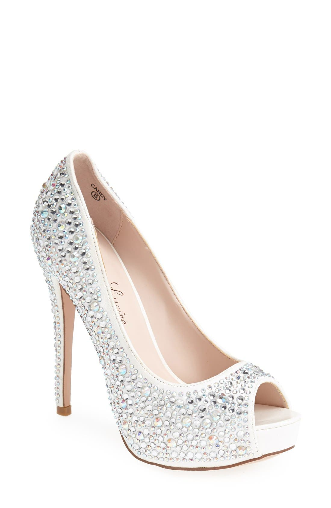 Lauren Lorraine 'Candy' Crystal Peep Toe Pump (Women)