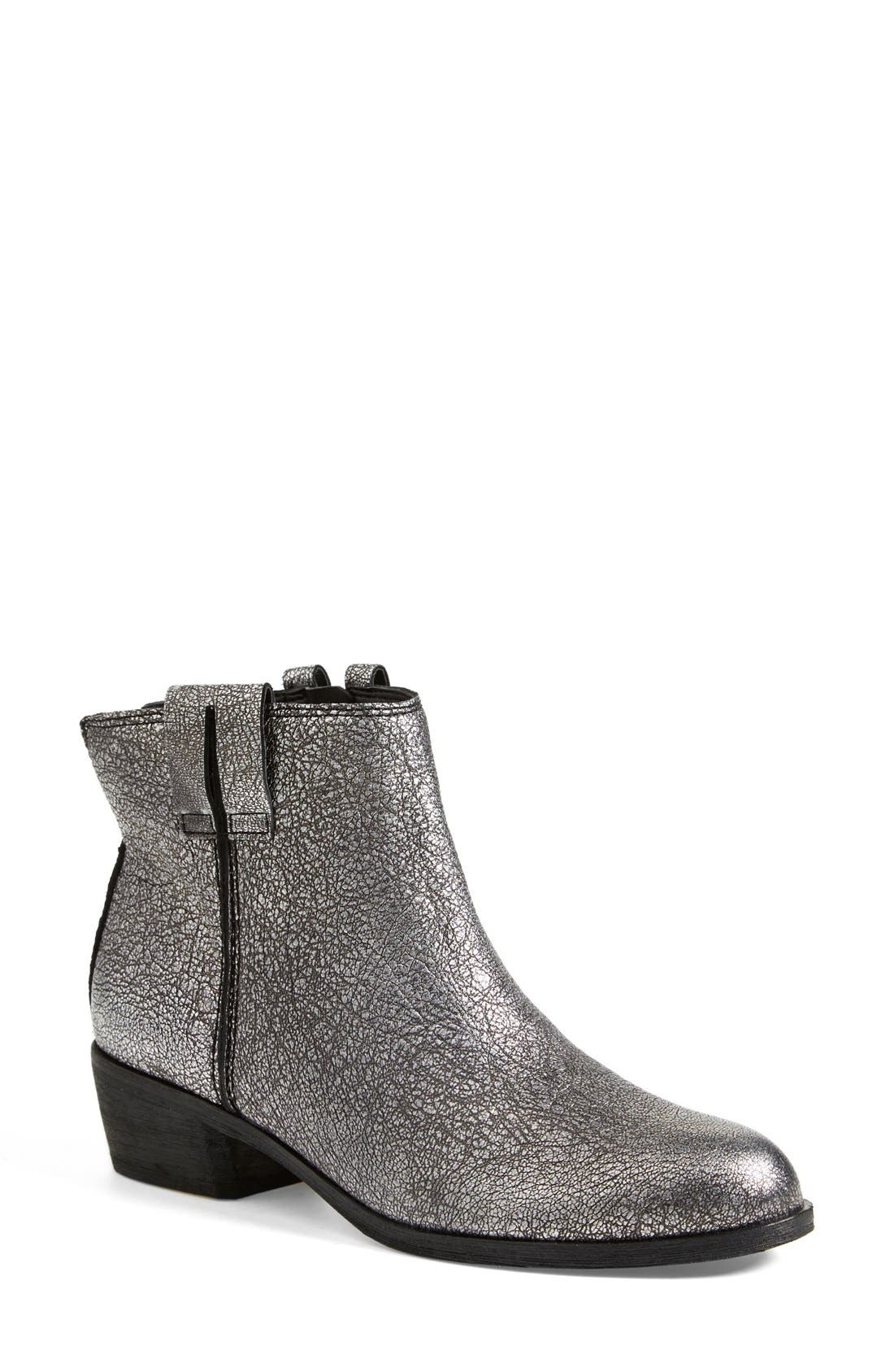 'James' Round Toe Bootie,                             Main thumbnail 1, color,                             Argento Silver