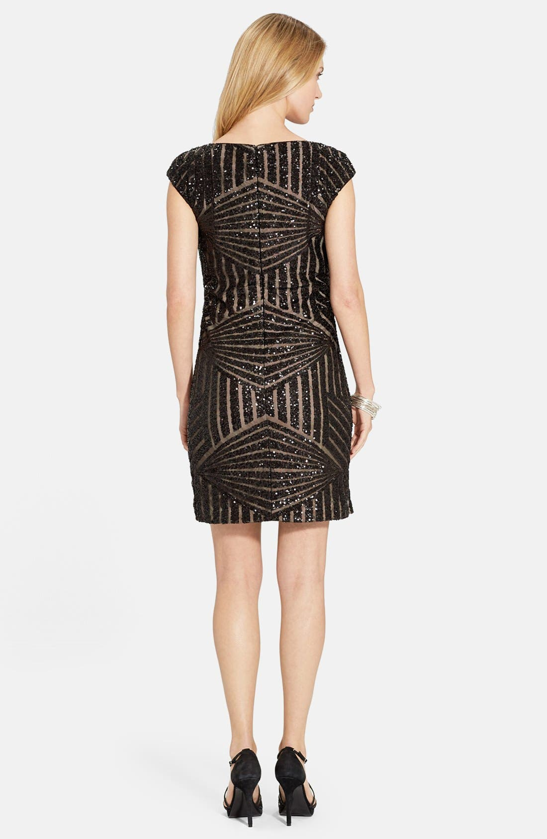 Geo Sequin Sheath Dress,                             Alternate thumbnail 2, color,                             Black