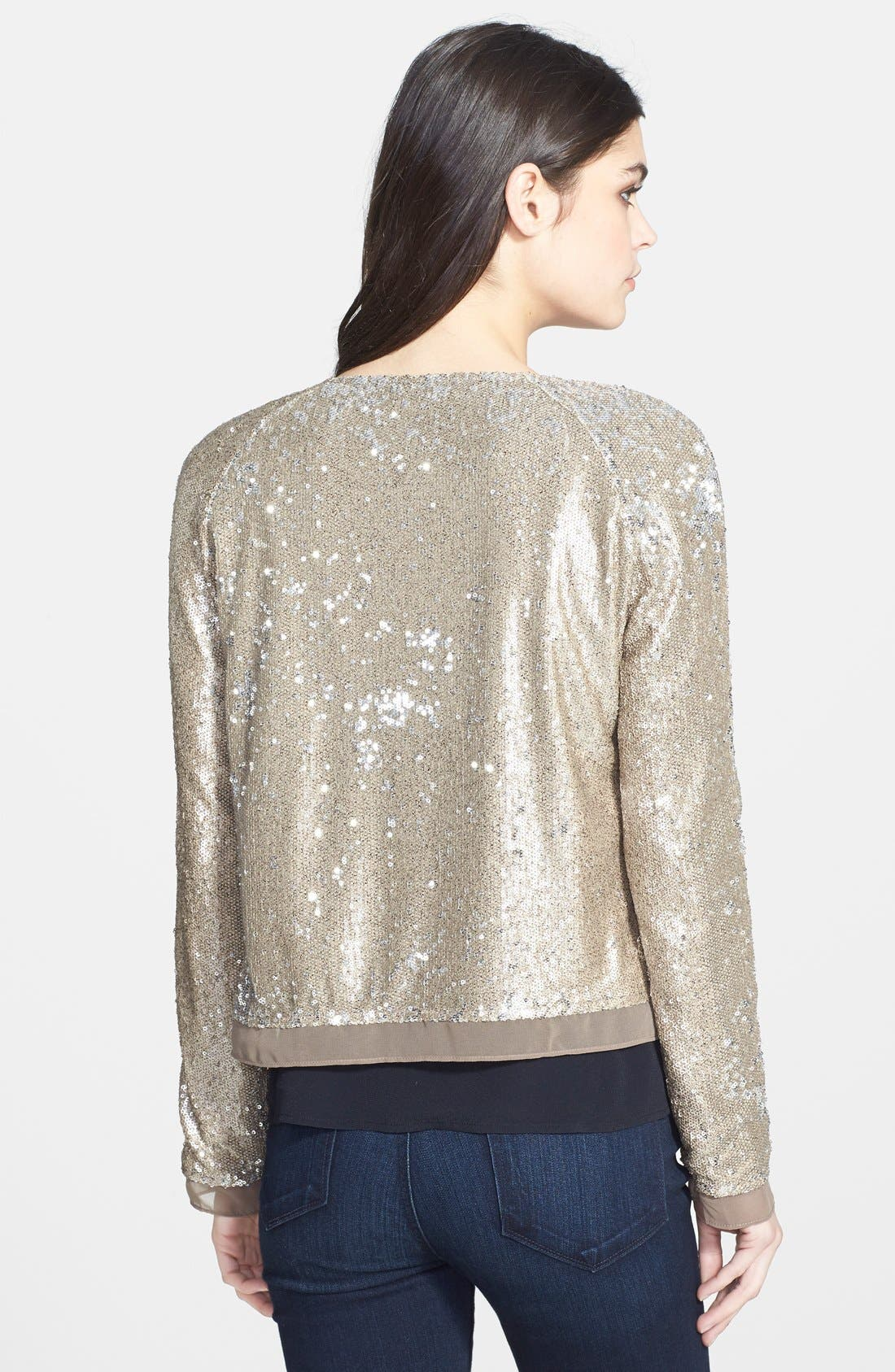 Sequin Jacket,                             Alternate thumbnail 2, color,                             Champagne