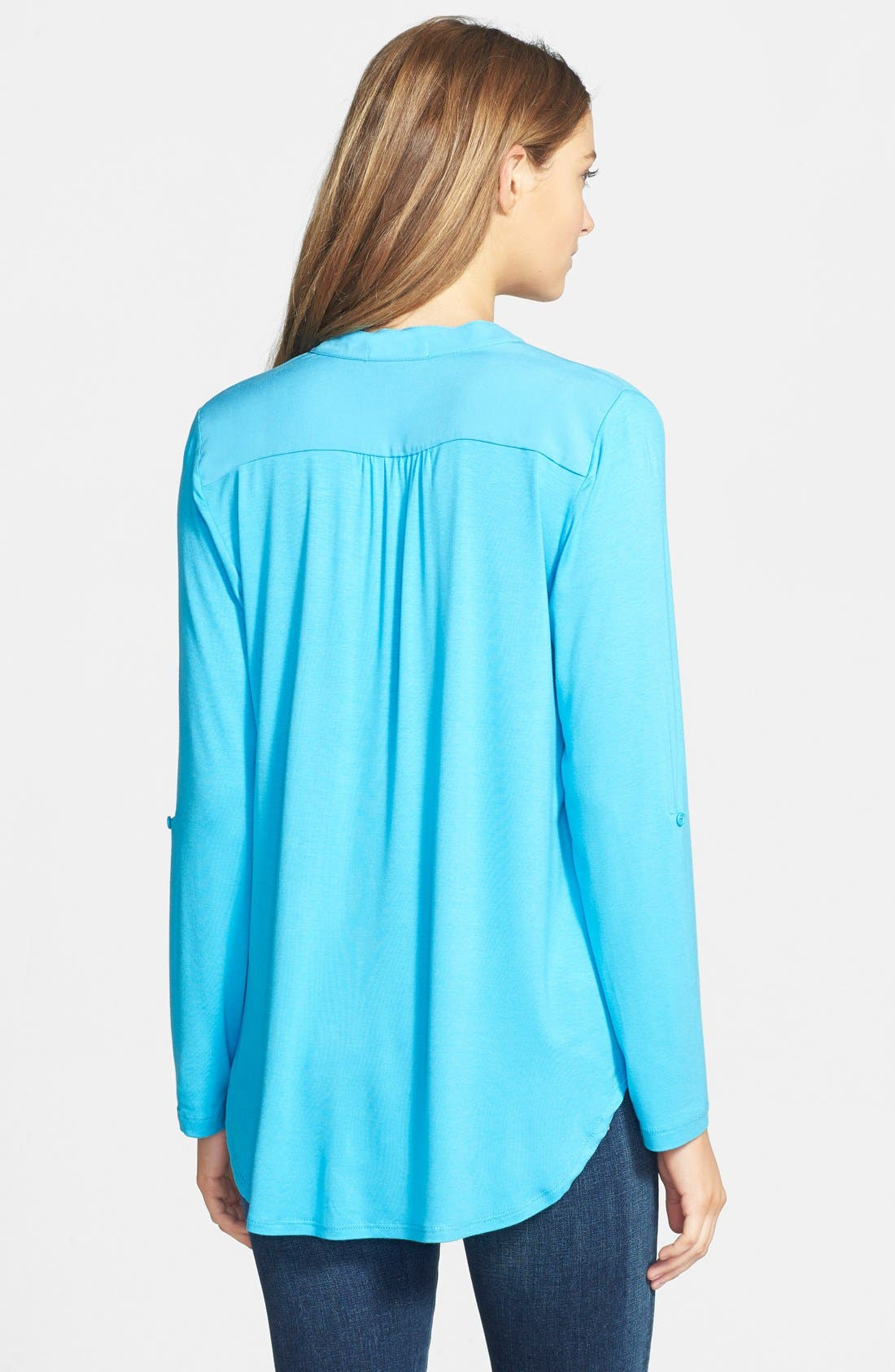 Alternate Image 2  - Pleione Mixed Media Roll Sleeve Top (Regular & Petite)