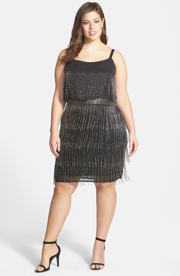 Adrianna Papell Beaded Fringe Cocktail Dress Plus Size Nordstrom