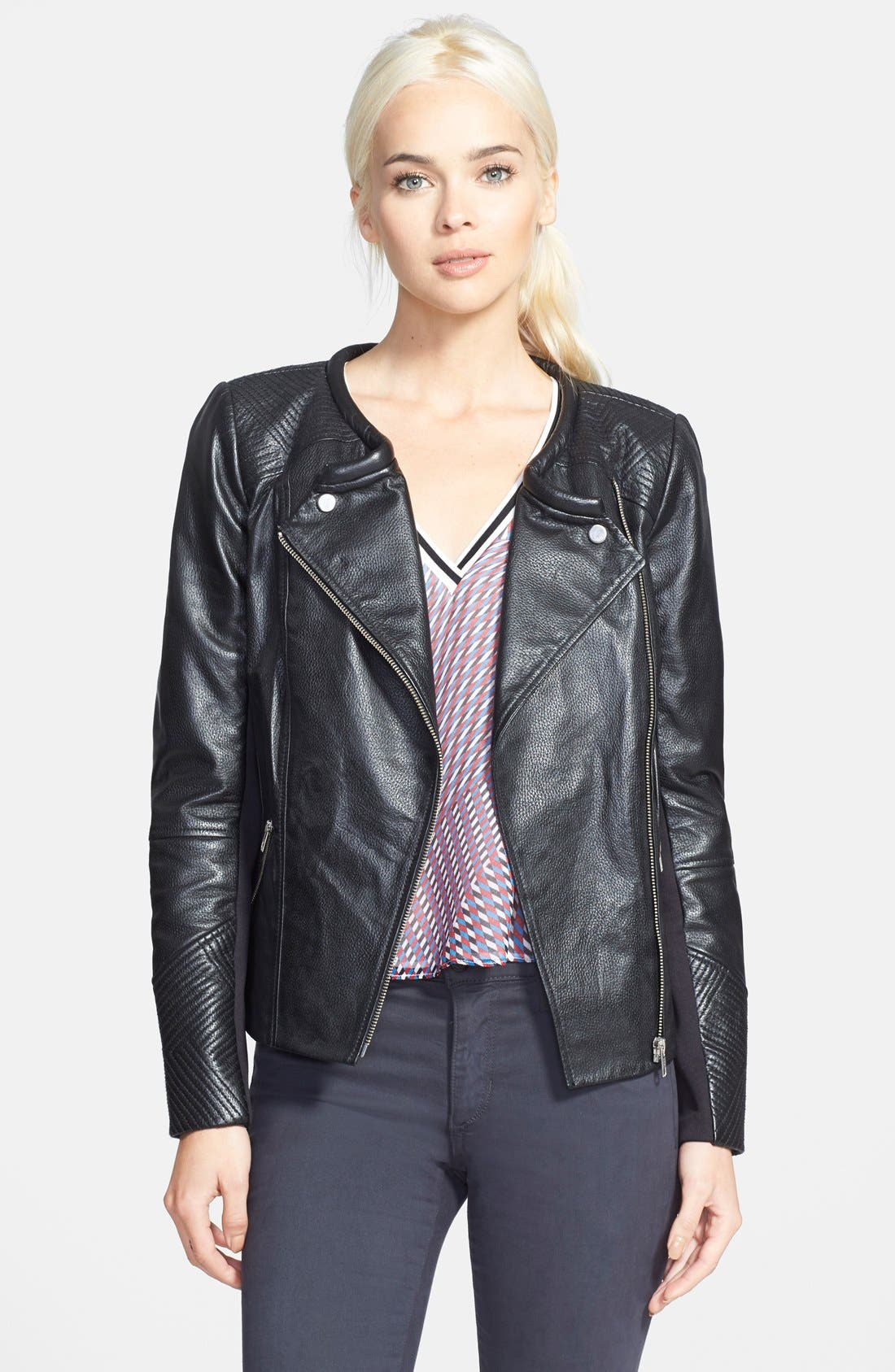 Alternate Image 1 Selected - Trouvé Stitch Detail Leather Jacket