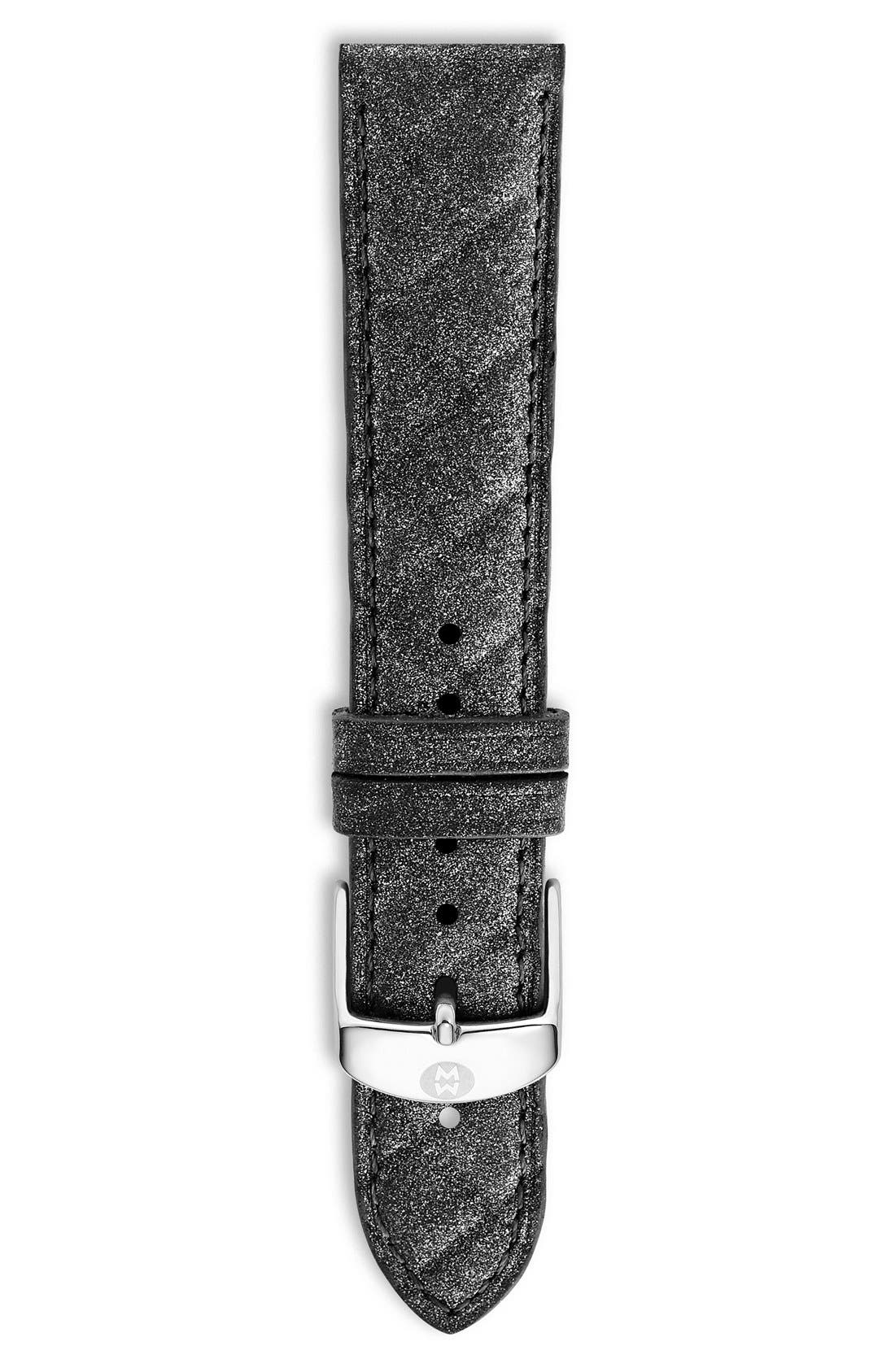 18mm Quilted Leather Watch Strap,                         Main,                         color, Steel Blue