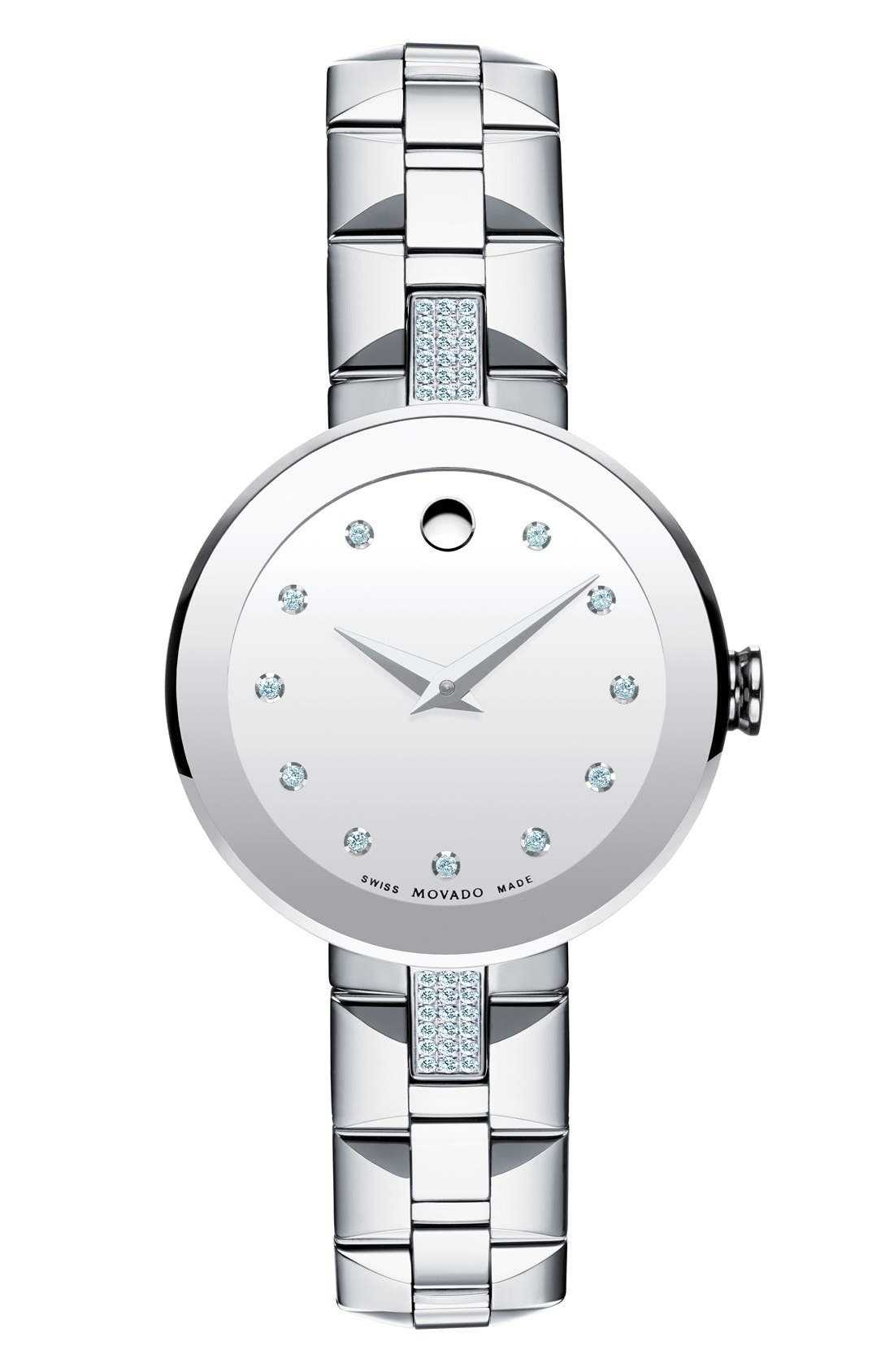 Alternate Image 1 Selected - Movado 'Sapphire' Diamond Mirror Dial Bracelet Watch, 28mm