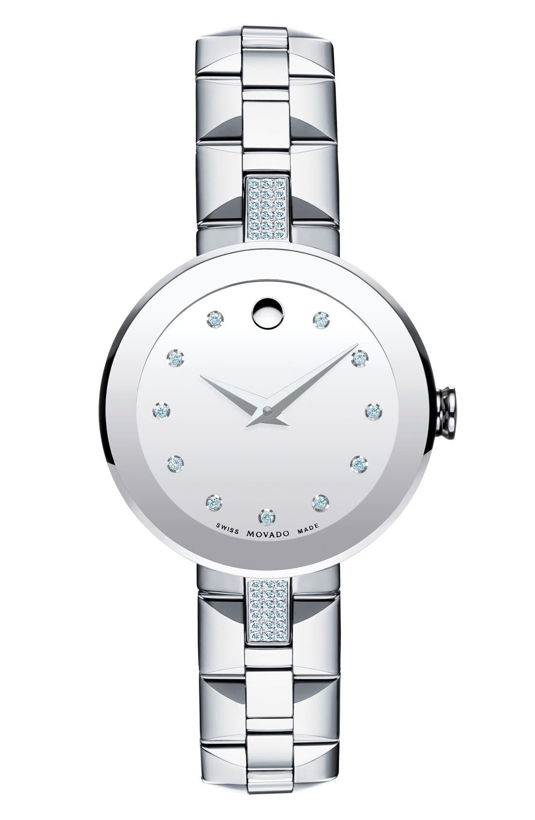 'Sapphire' Diamond Mirror Dial Bracelet Watch, 28mm,                         Main,                         color, Silver