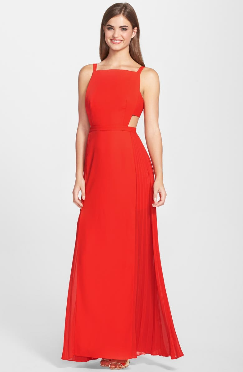 BCBG \'Brielle\' Cutout Pleated Side Gown   Nordstrom
