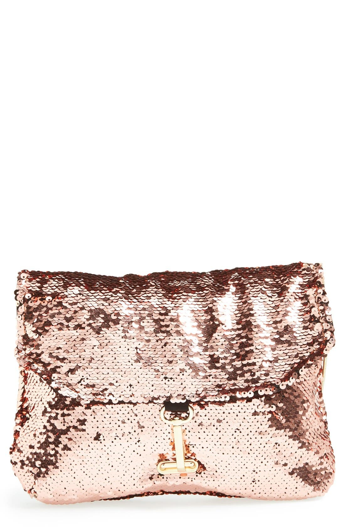 'Ariel' Convertible Sequin Clutch,                         Main,                         color, Rose Gold