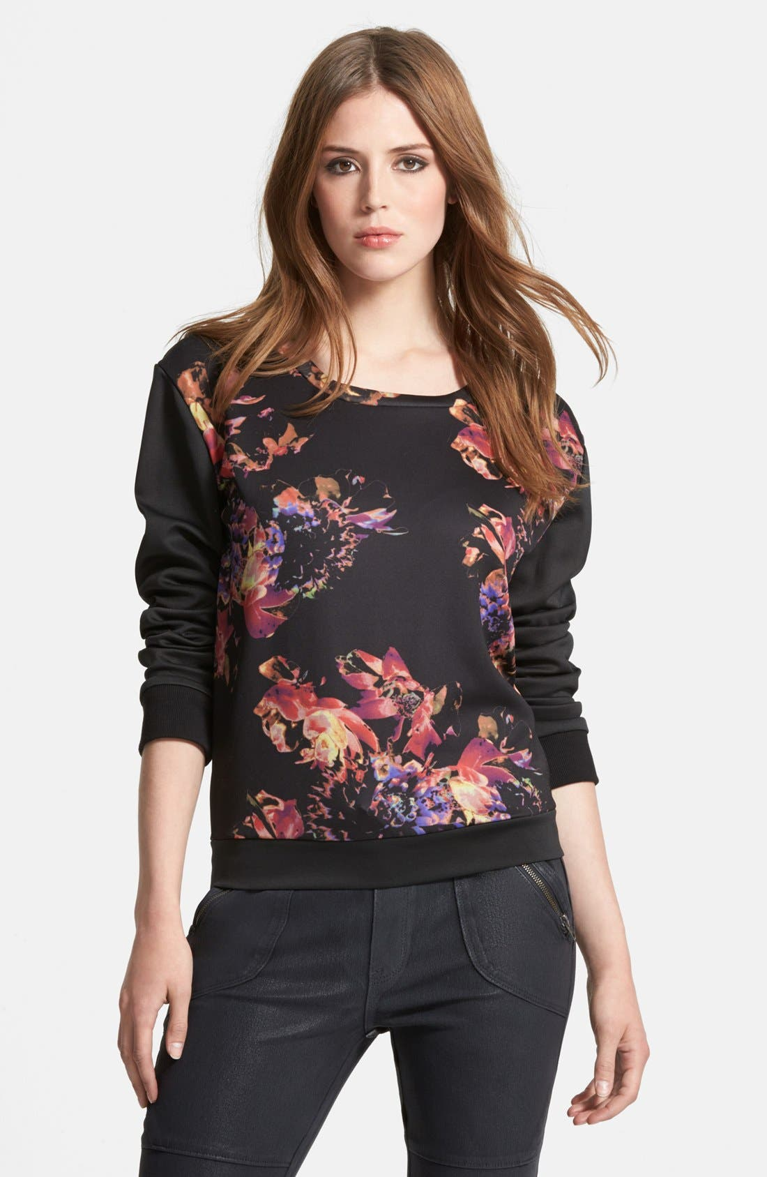 Alternate Image 1 Selected - Kiind of Floral Scuba Sweater
