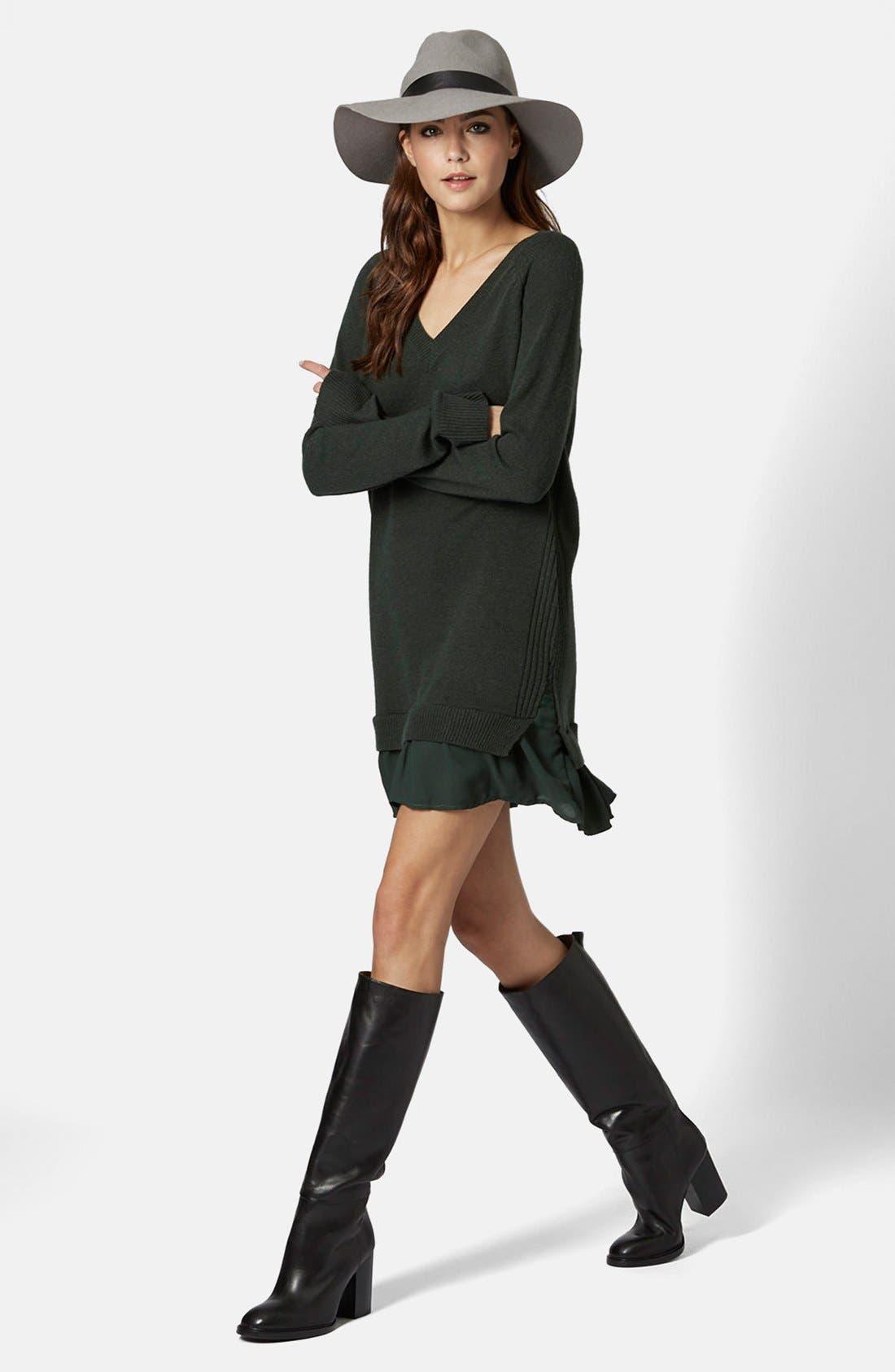Alternate Image 5  - Topshop Woven Hem V-Neck Sweater Dress