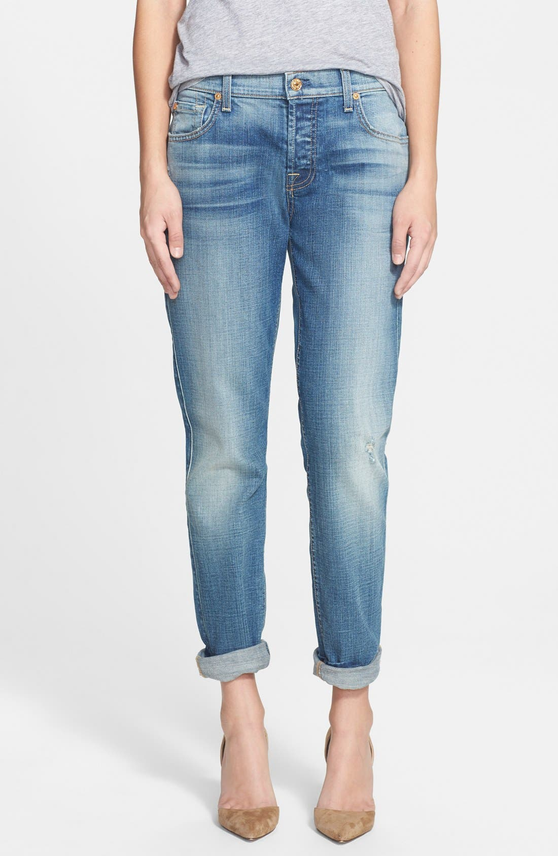Alternate Image 1 Selected - 7 For All Mankind® 'Josefina' Boyfriend Jeans (Aggressive Atlas Blue)