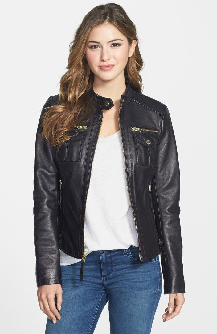 Michael Michael Kors Patch Pocket Leather Jacket Nordstrom