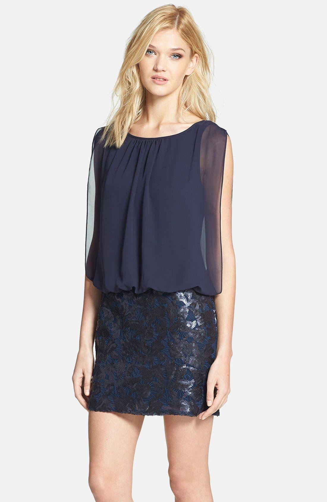 Alternate Image 1 Selected - Aidan by Aidan Mattox Embroidered Lace Chiffon Blouson Dress