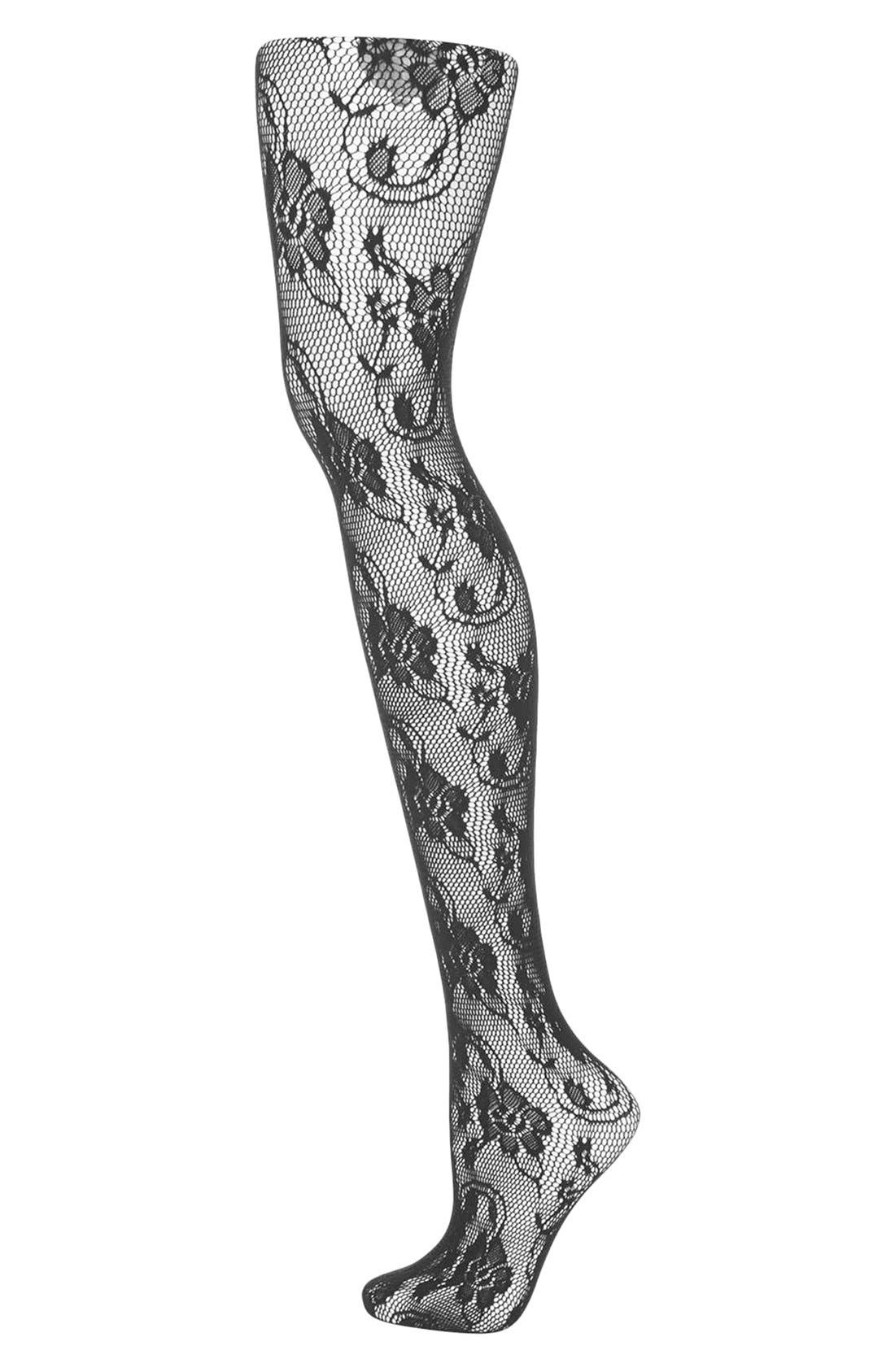 Main Image - Topshop Floral Lace Tights