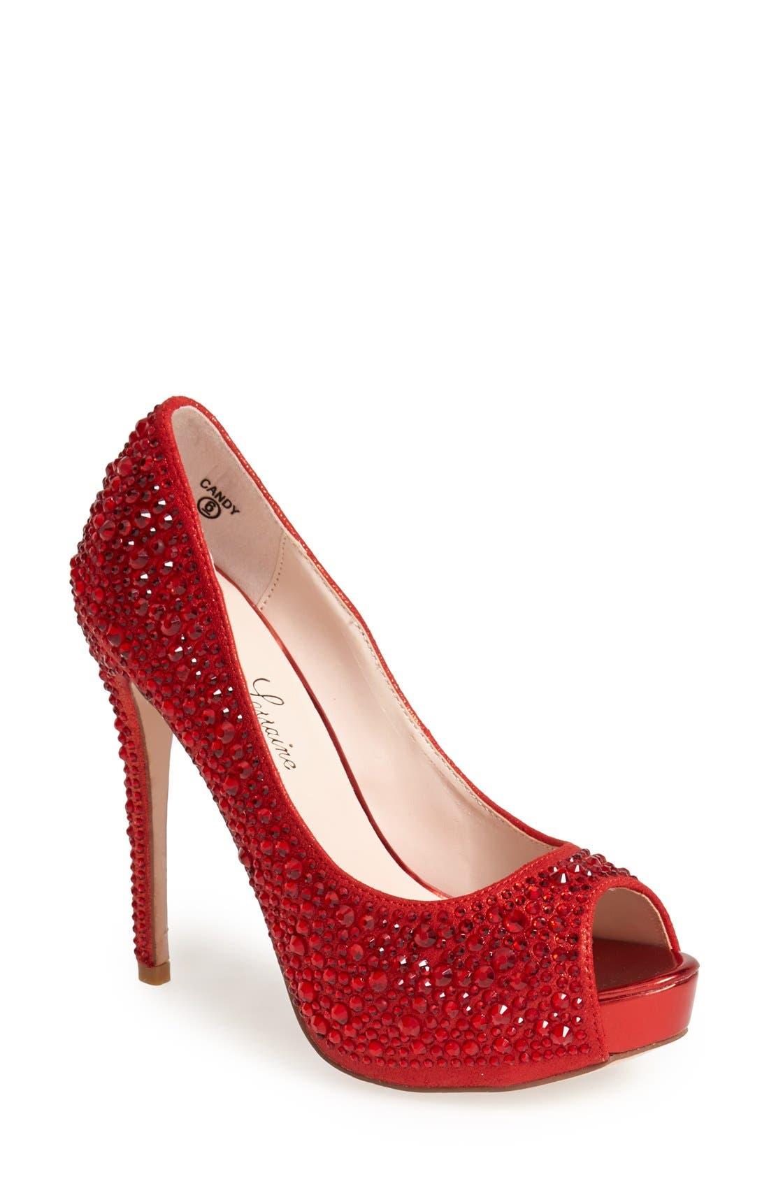'Candy' Crystal Peep Toe Pump,                             Main thumbnail 1, color,                             Red