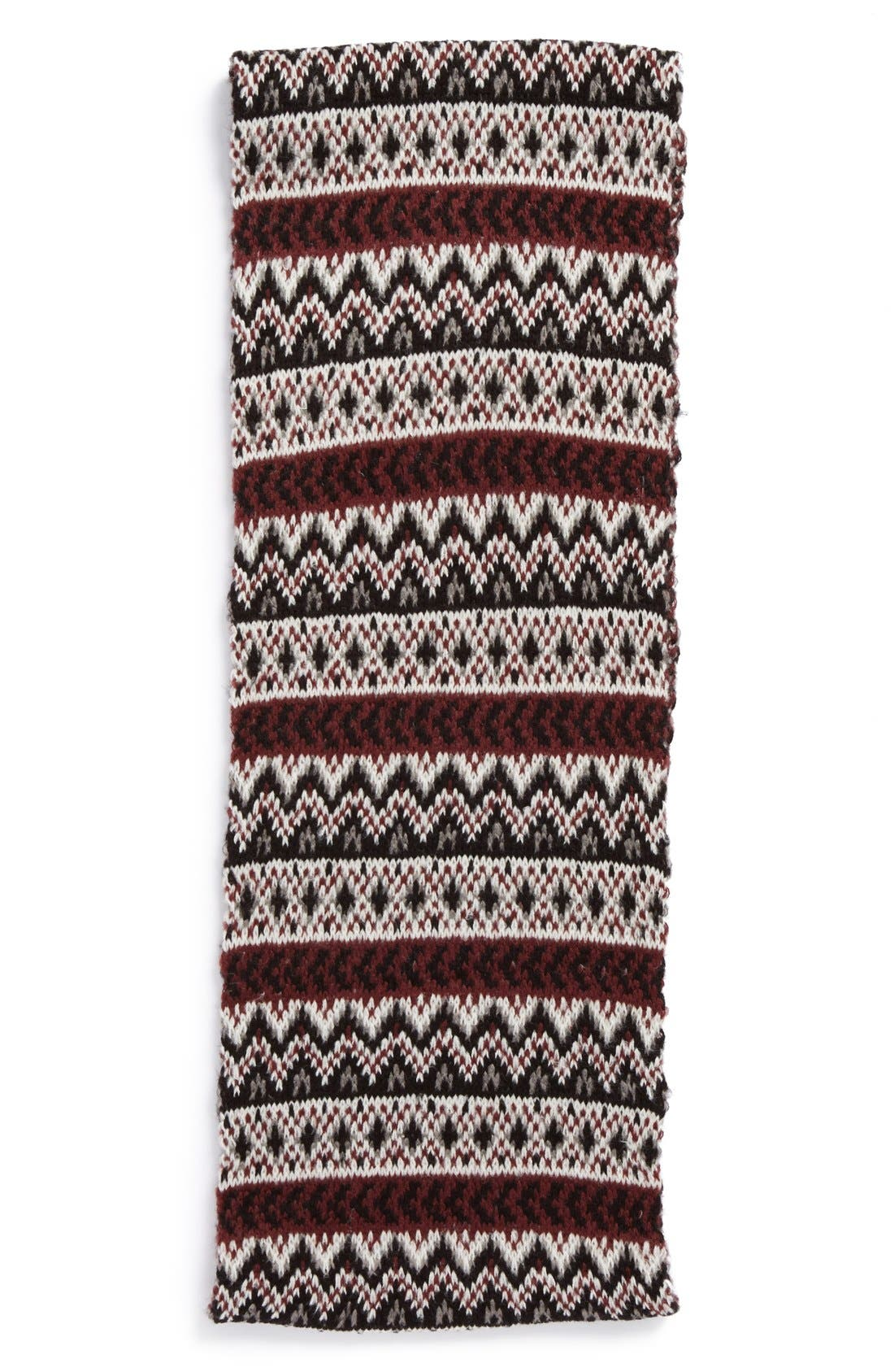Fair Isle Infinity Scarf,                             Alternate thumbnail 2, color,                             Black