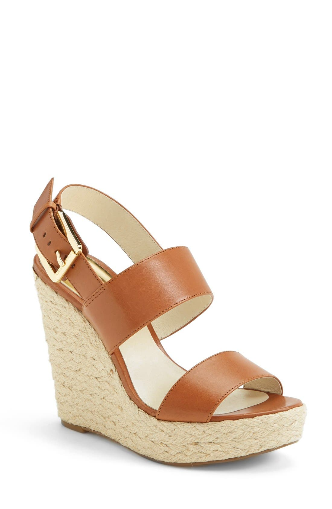 'Posey' Espadrille Wedge Sandal,                             Main thumbnail 1, color,                             Luggage