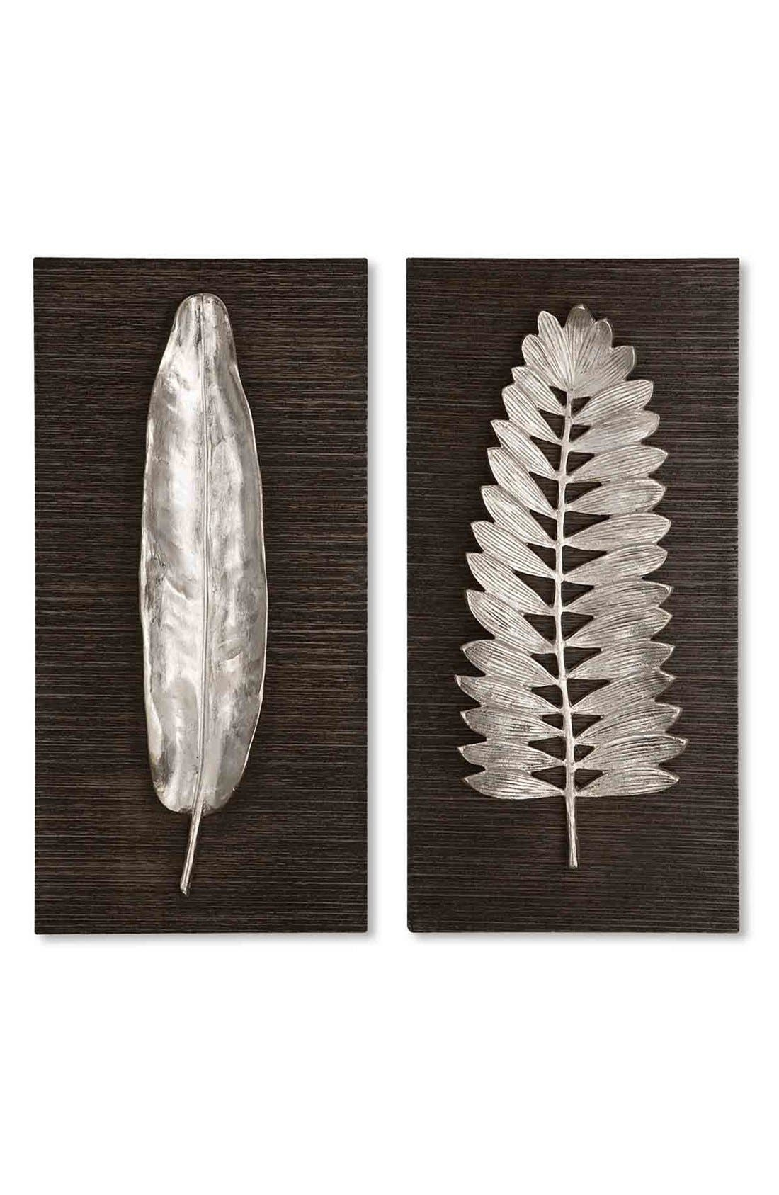 'Silver Leaves' Wall Art,                         Main,                         color, Silver