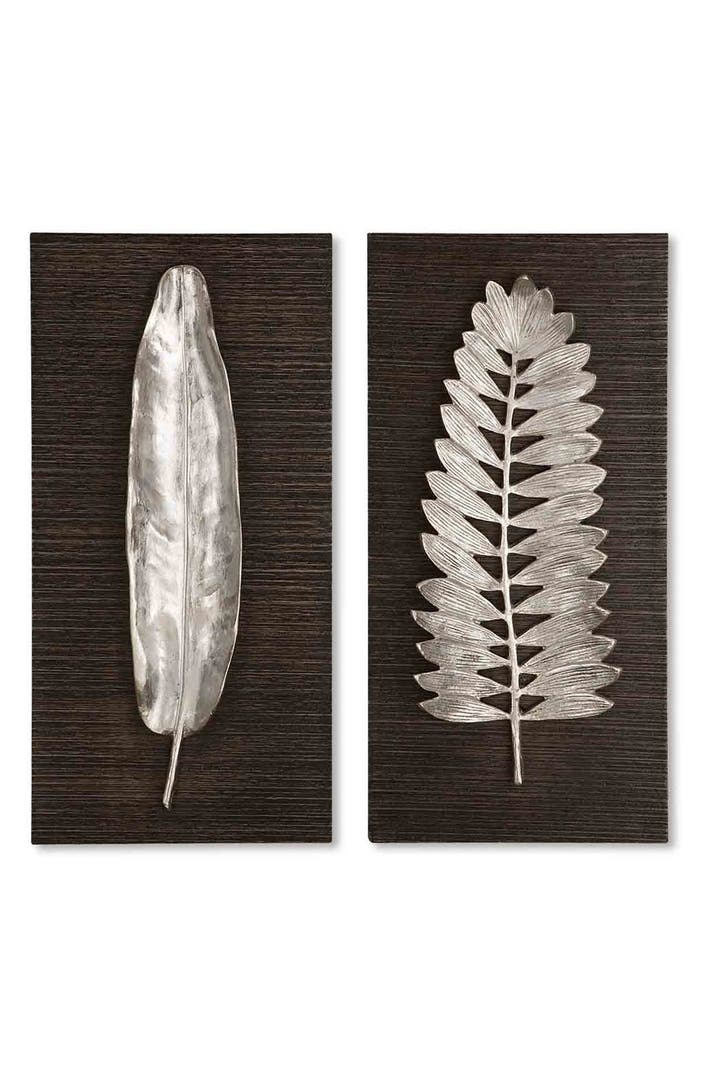 Uttermost 39 silver leaves 39 wall art set of 2 nordstrom for Silver wall art