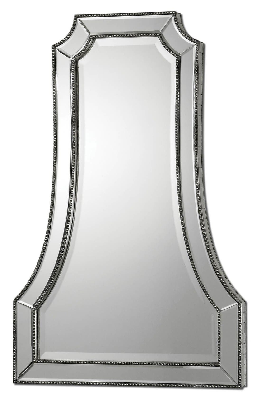 'Cattaneo' Beaded Mirror,                         Main,                         color, Silver