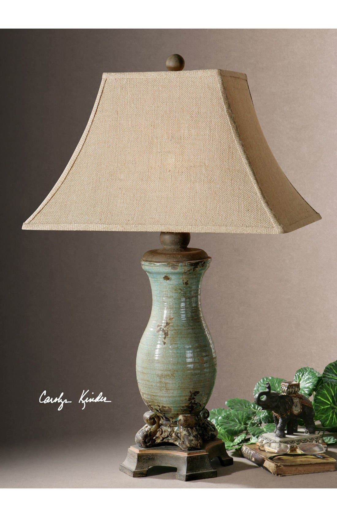'Andelle' Glazed Ceramic Table Lamp,                             Alternate thumbnail 2, color,                             Blue