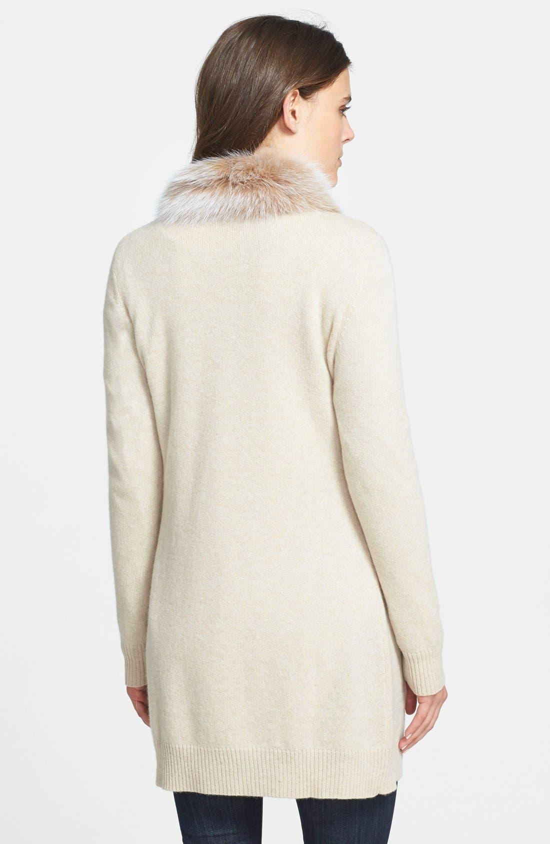 Alternate Image 2  - Sofia Cashmere Genuine Fox Fur Trim Cashmere Cardigan