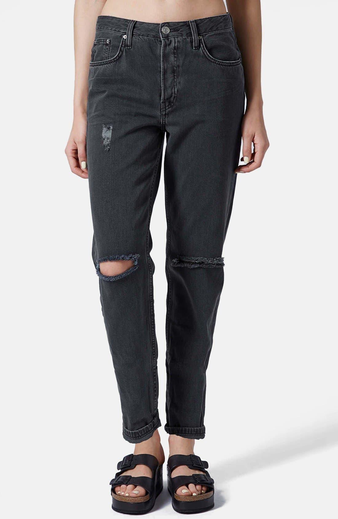 Alternate Image 1 Selected - Topshop Moto 'Hayden' Ripped Boyfriend Jeans (Black)