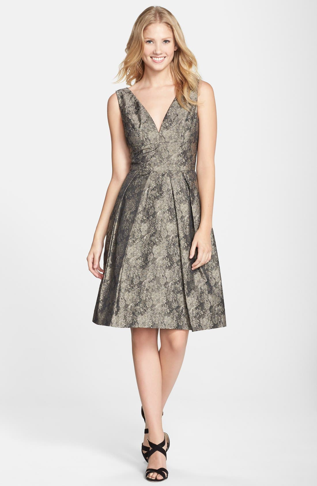 Alternate Image 3  - Vera Wang Jacquard Fit & Flare Dress