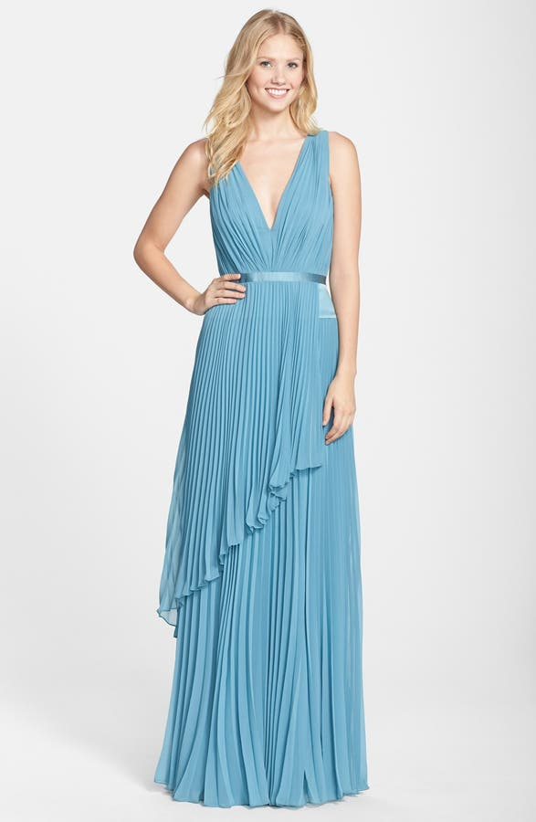Vera Wang Pleated Chiffon Gown | Nordstrom
