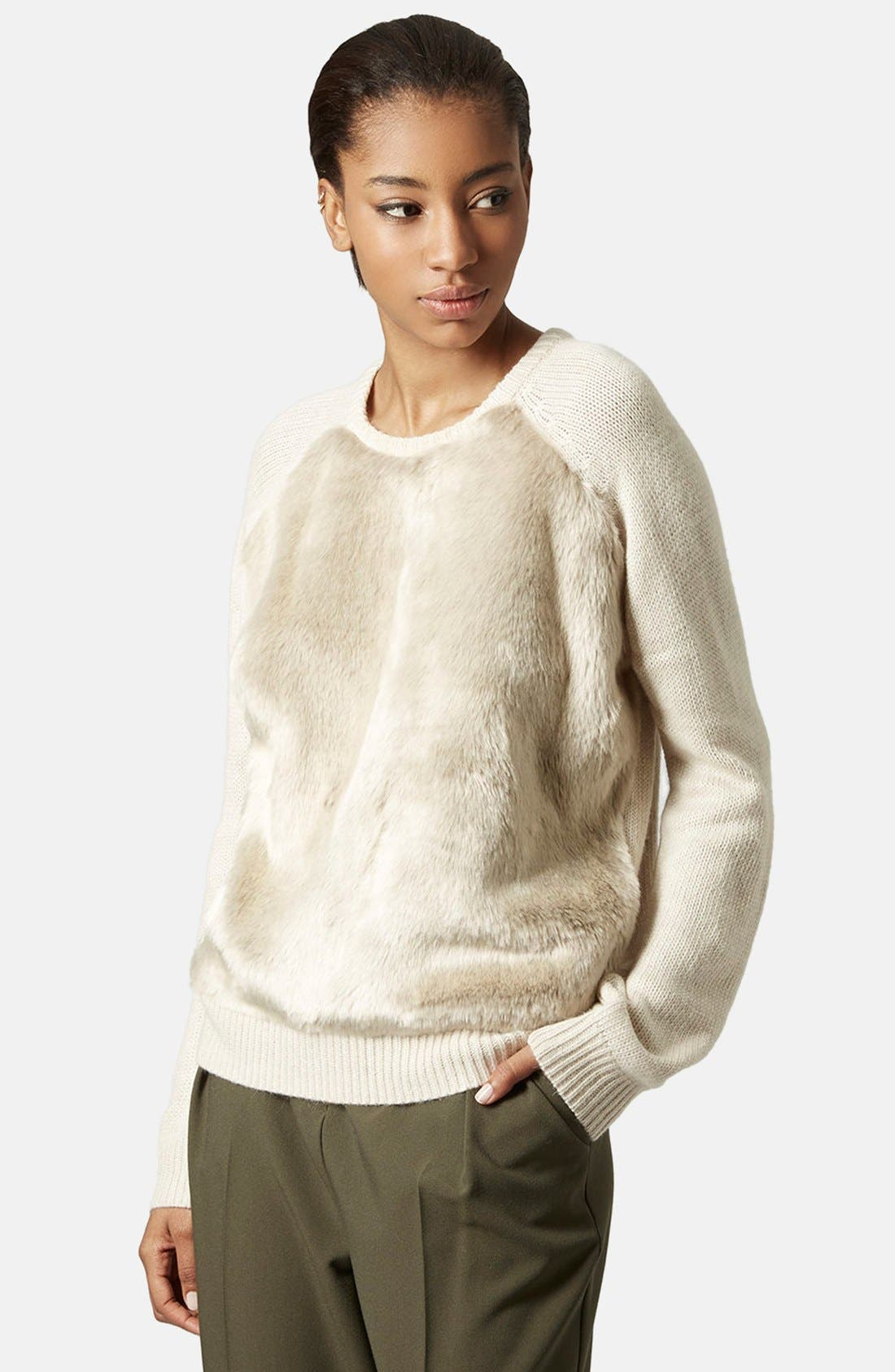 Main Image - Topshop Faux Fur Front Sweater
