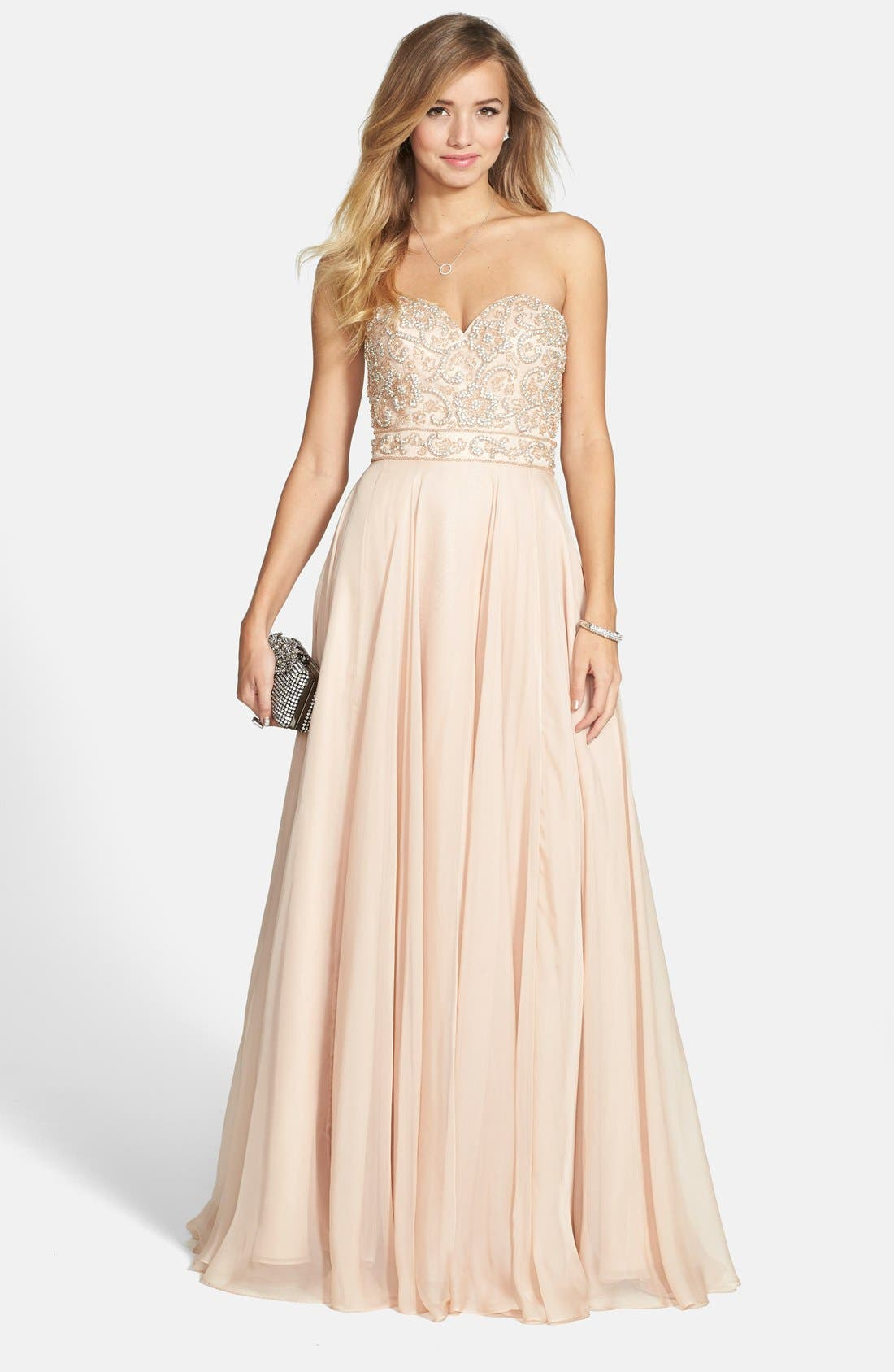 Alternate Image 1 Selected - Sherri Hill Embellished Chiffon Strapless Gown