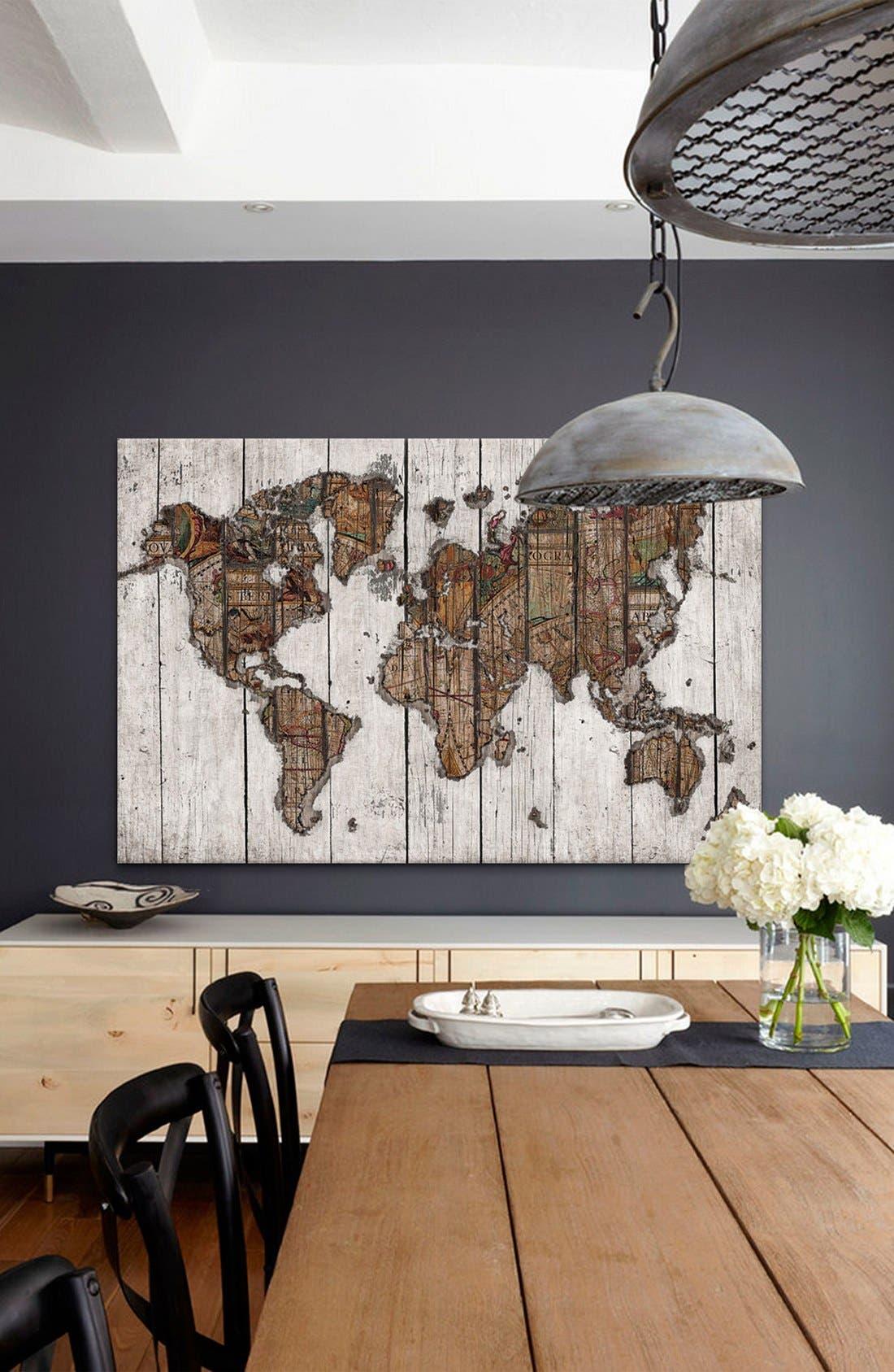 'Wood Map - Maximilian San' Giclée Print Canvas Art,                             Alternate thumbnail 2, color,                             White/ Brown