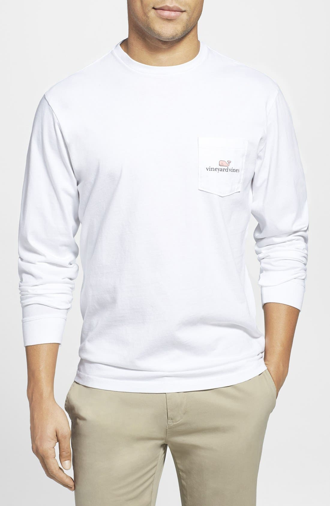 Logo Pocket Long Sleeve Crewneck T-Shirt,                             Alternate thumbnail 2, color,                             White Cap