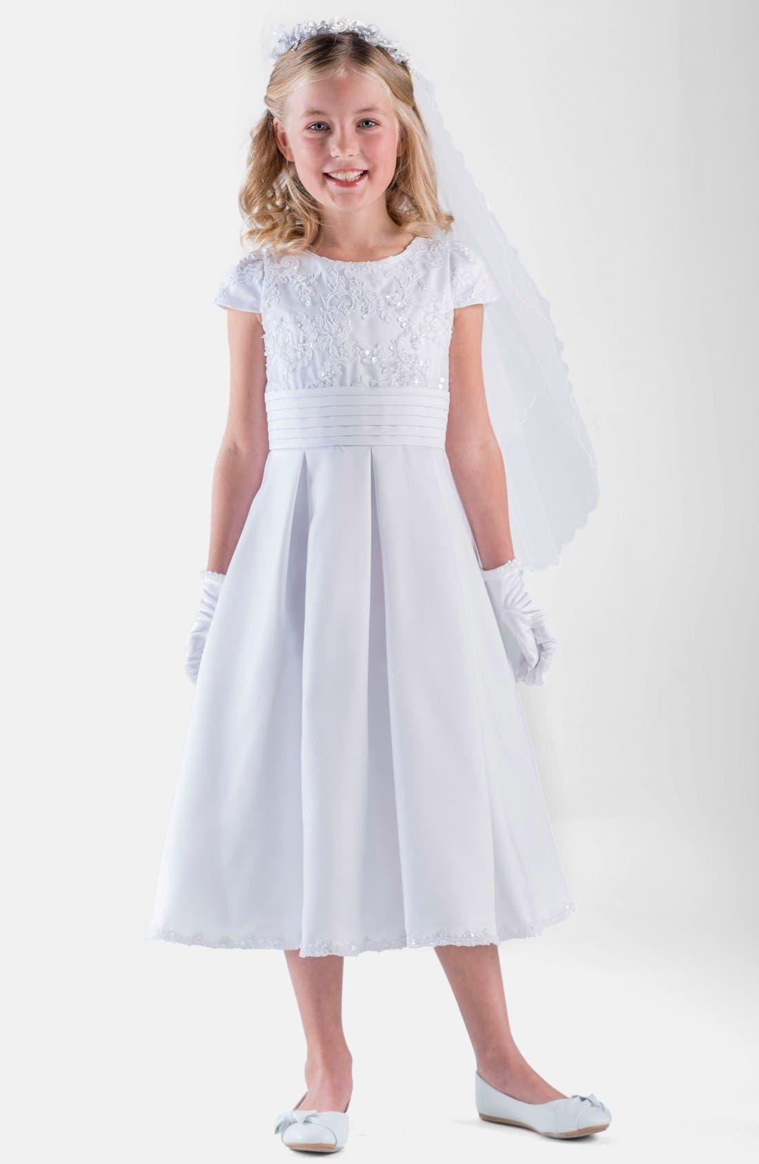 Box Pleat Lace Bodice Dress,                             Main thumbnail 1, color,                             White