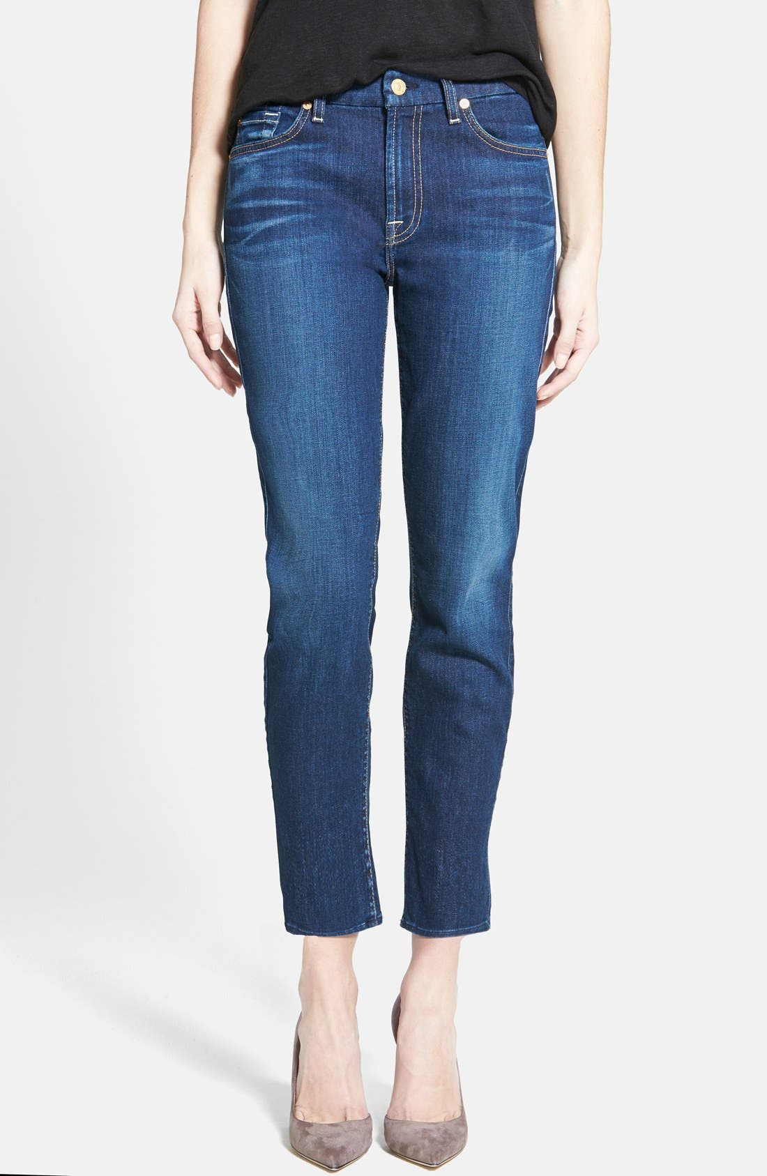 Alternate Image 1 Selected - 7 For All Mankind® 'Kimmie' Contour Waist Crop Jeans (Lovely Medium Blue 2)