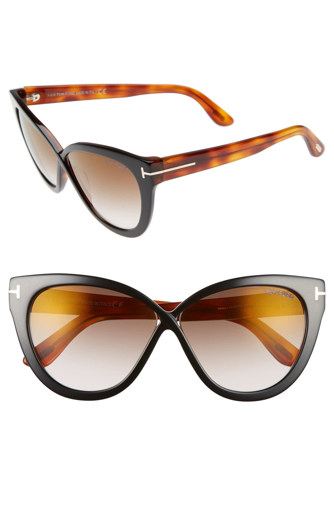 Arabella 59mm Cat Eye Sunglasses,                         Main,                         color, Black/ Havana/ Brown Flash