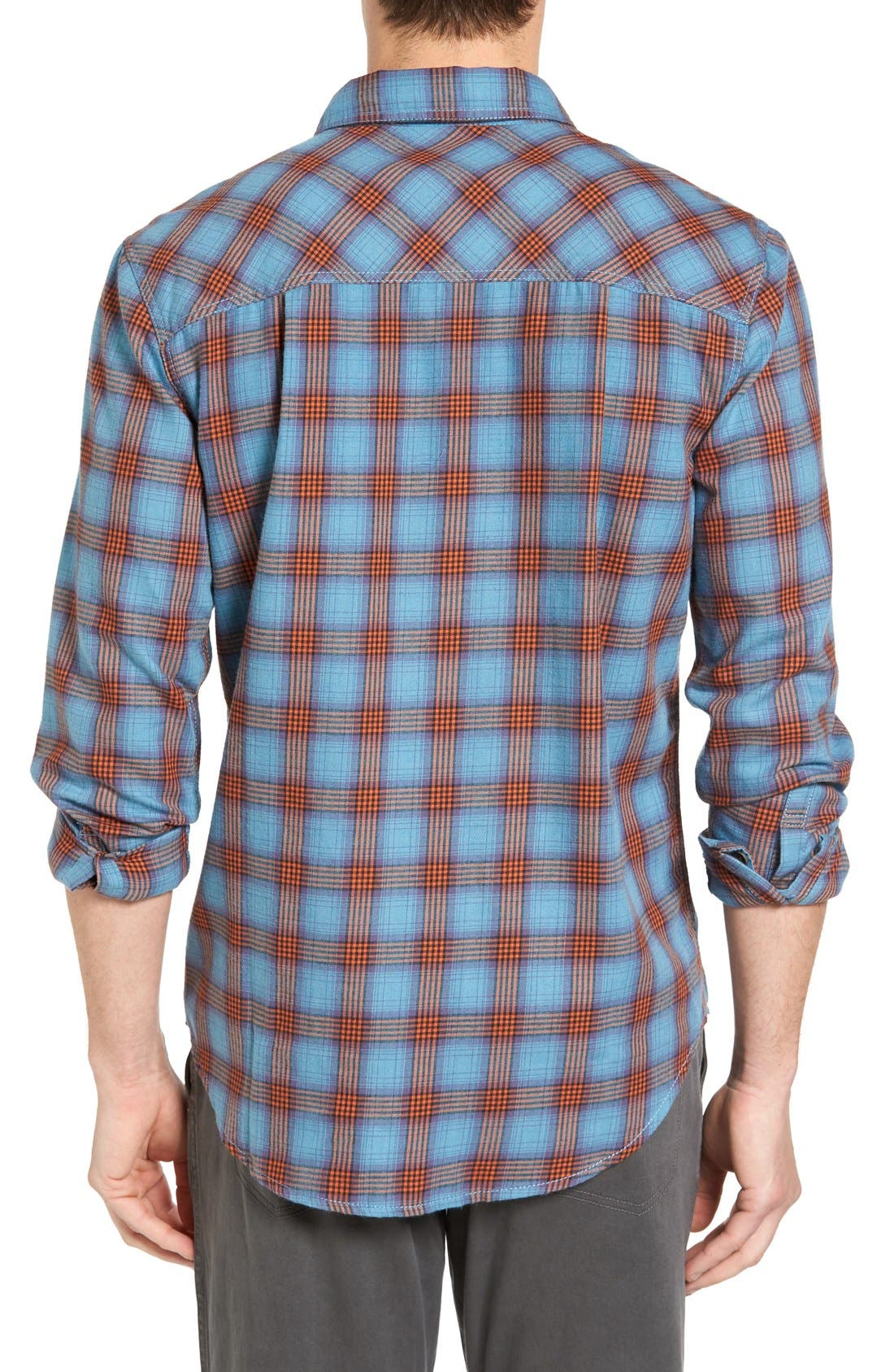 Burner Regular Fit Plaid Flannel Shirt,                             Alternate thumbnail 2, color,                             Vision Blue