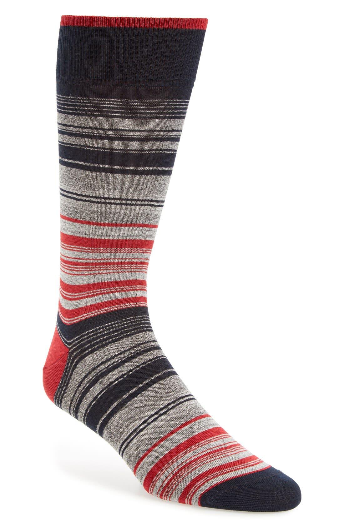 Mercerized Cotton Blend Socks,                         Main,                         color, Ruby/ Grey