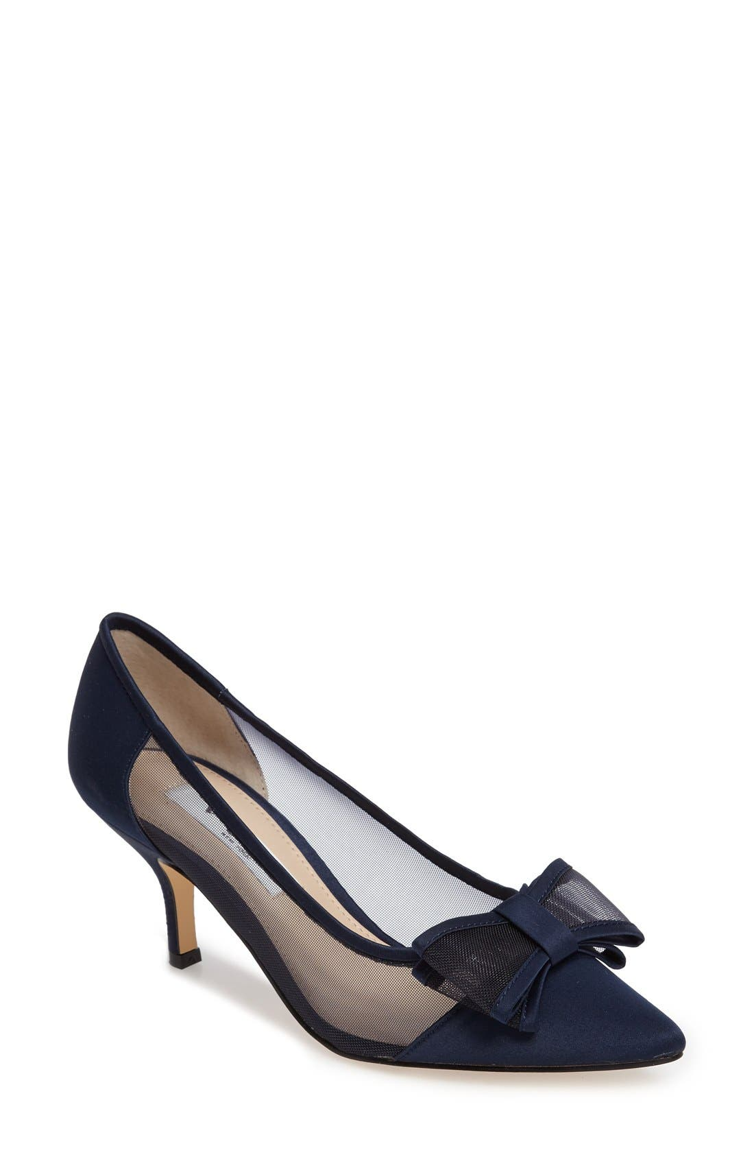 Bianca Pointy Toe Pump,                         Main,                         color, New Navy Satin