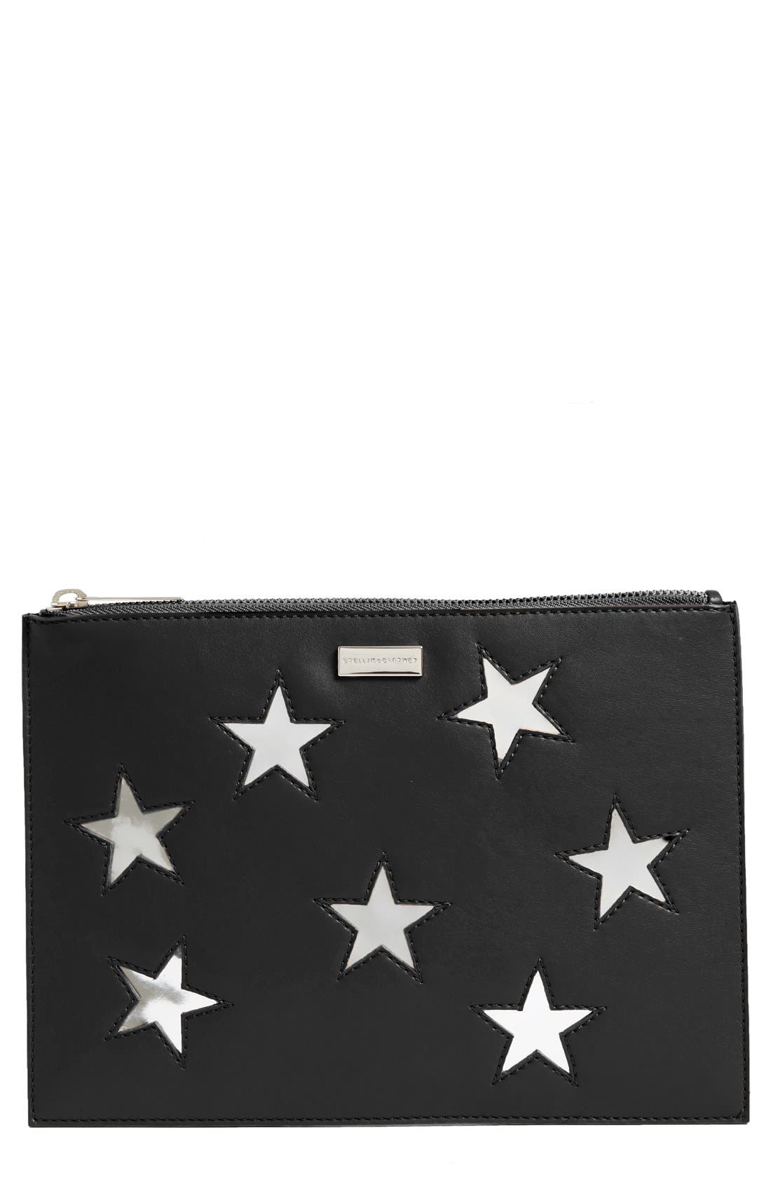 Main Image - Stella McCartney Lamé Stars Faux Leather Zip Pouch