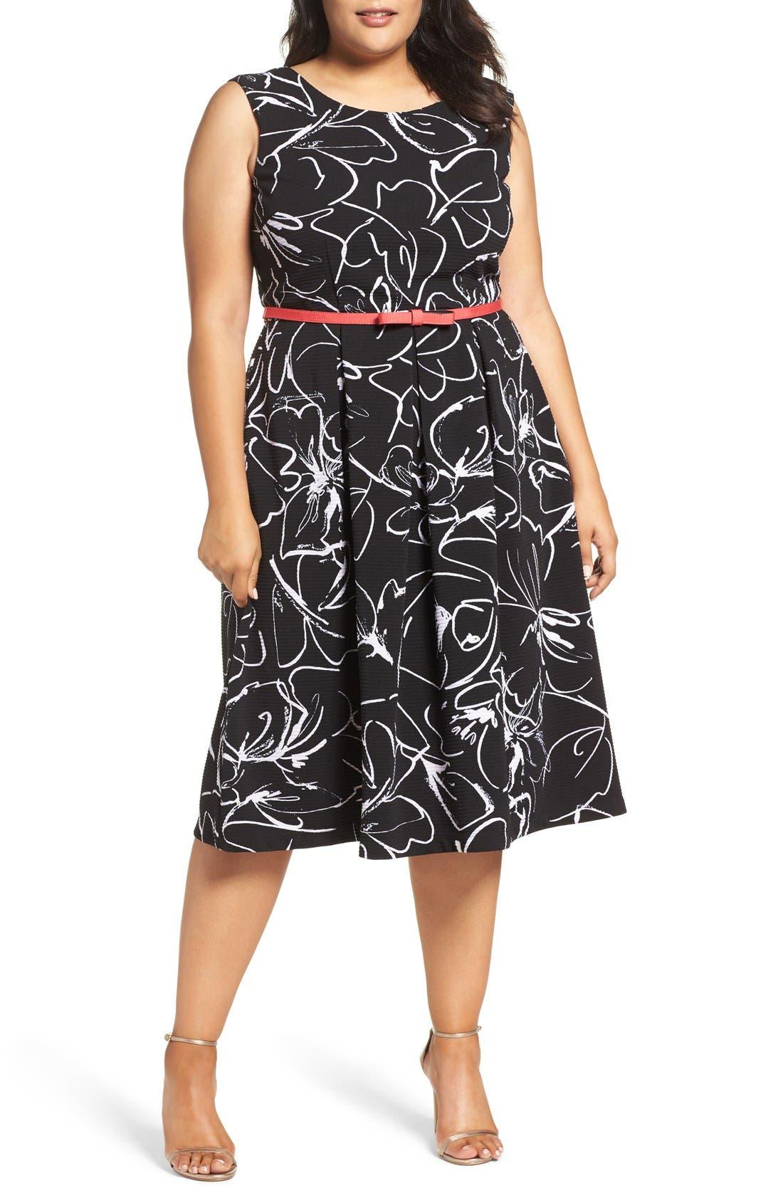Print Fit & Flare Dress,                         Main,                         color, Black/ Ivory