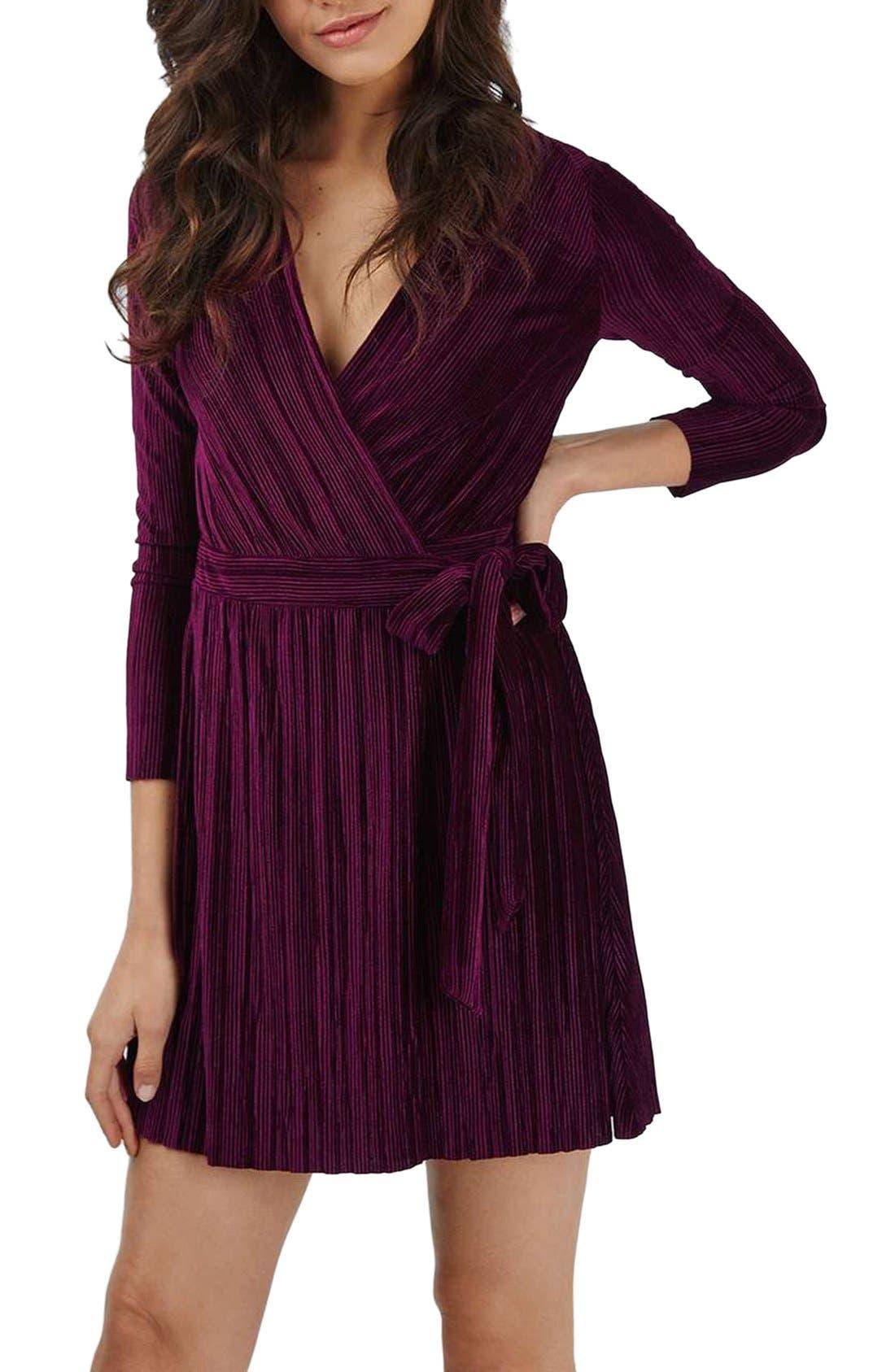 Velvet Wrap Dress,                         Main,                         color, Wine
