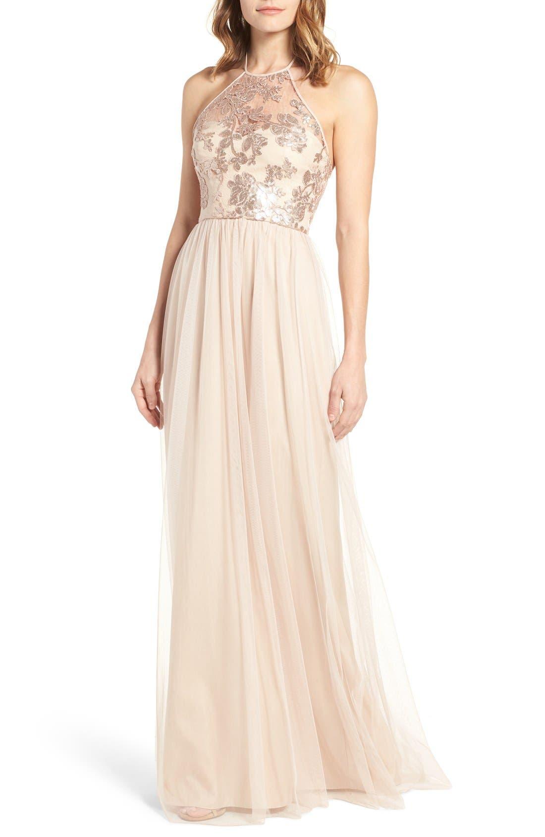 Amsale Sheridan Sequin Halter Dress