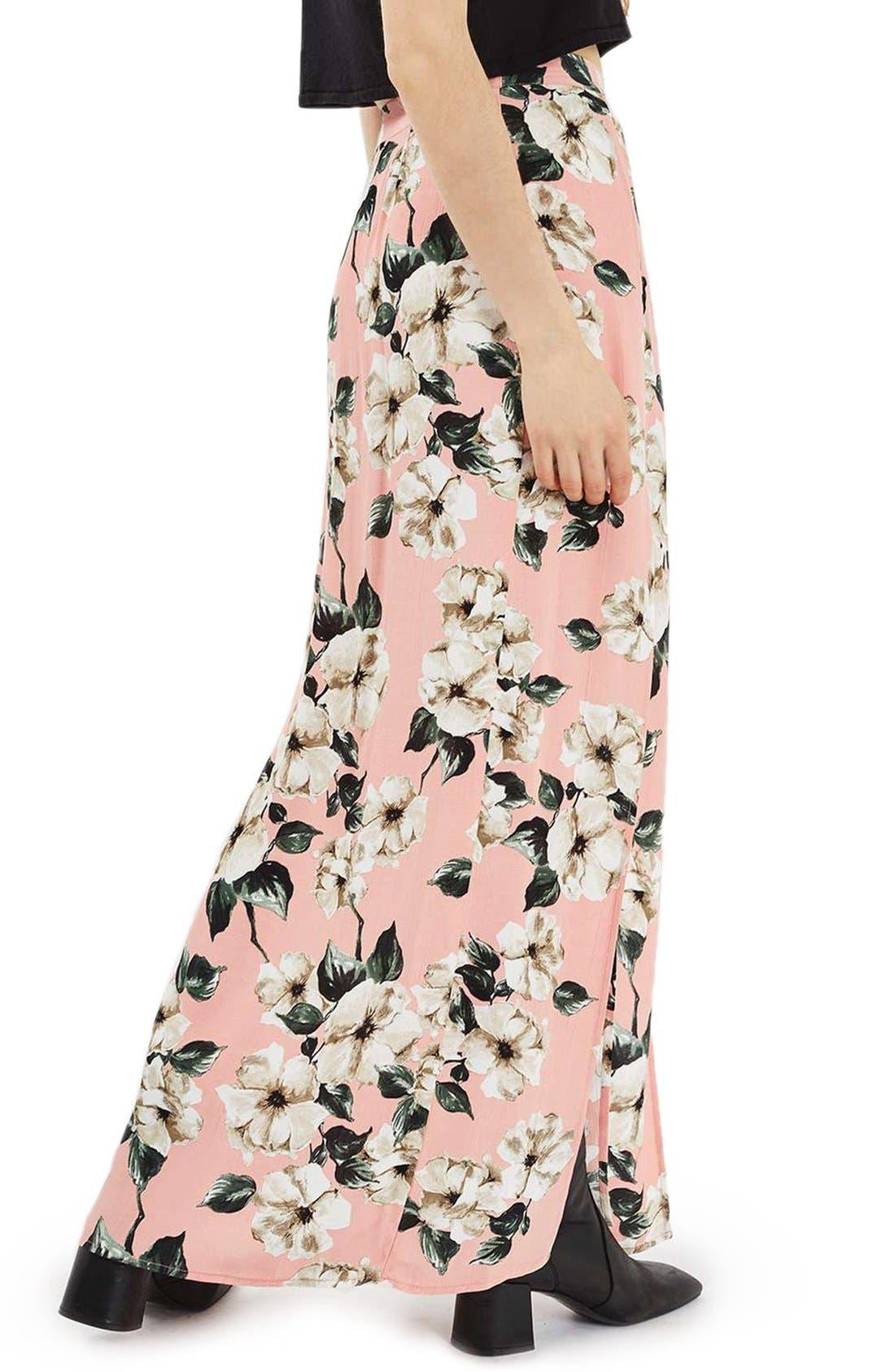Alternate Image 3  - Topshop Sugar Flower Double Slit Maxi Skirt
