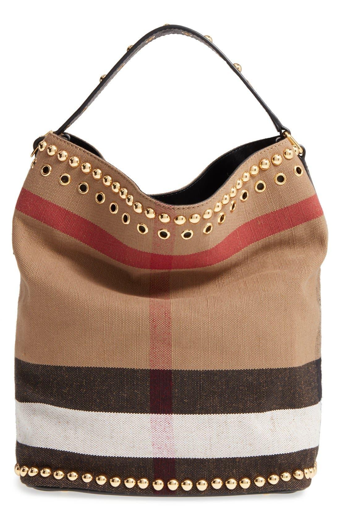 Alternate Image 1 Selected - Burberry Medium Ashby Studded Canvas Bucket Bag