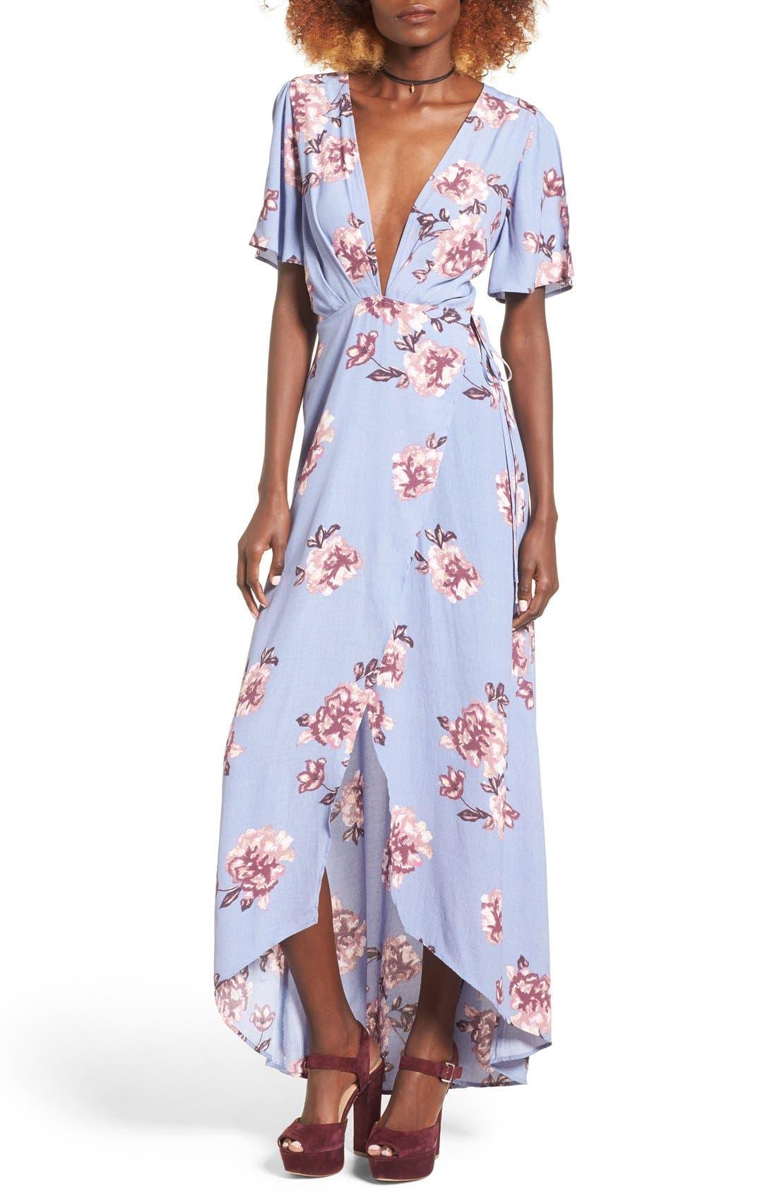 Main Image - ASTR Selma Floral Print Wrap Dress