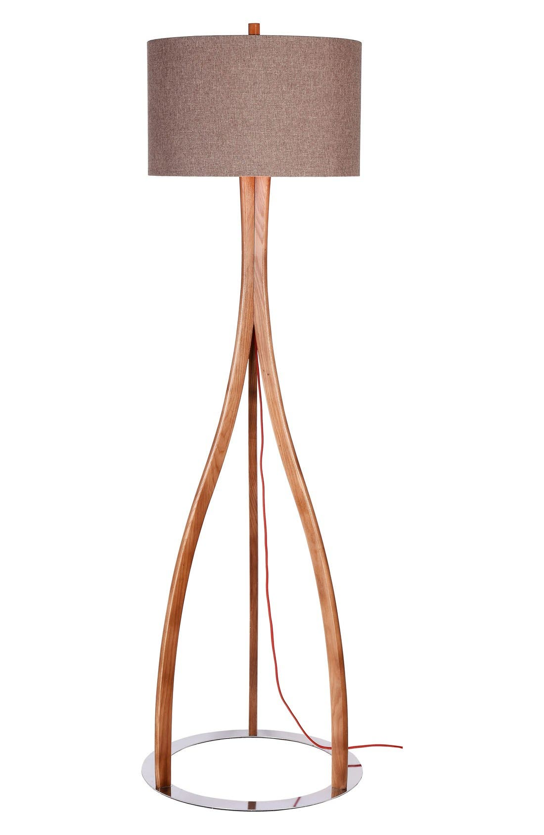 JAlexander Parker Wood Floor Lamp,                             Main thumbnail 1, color,                             Brown